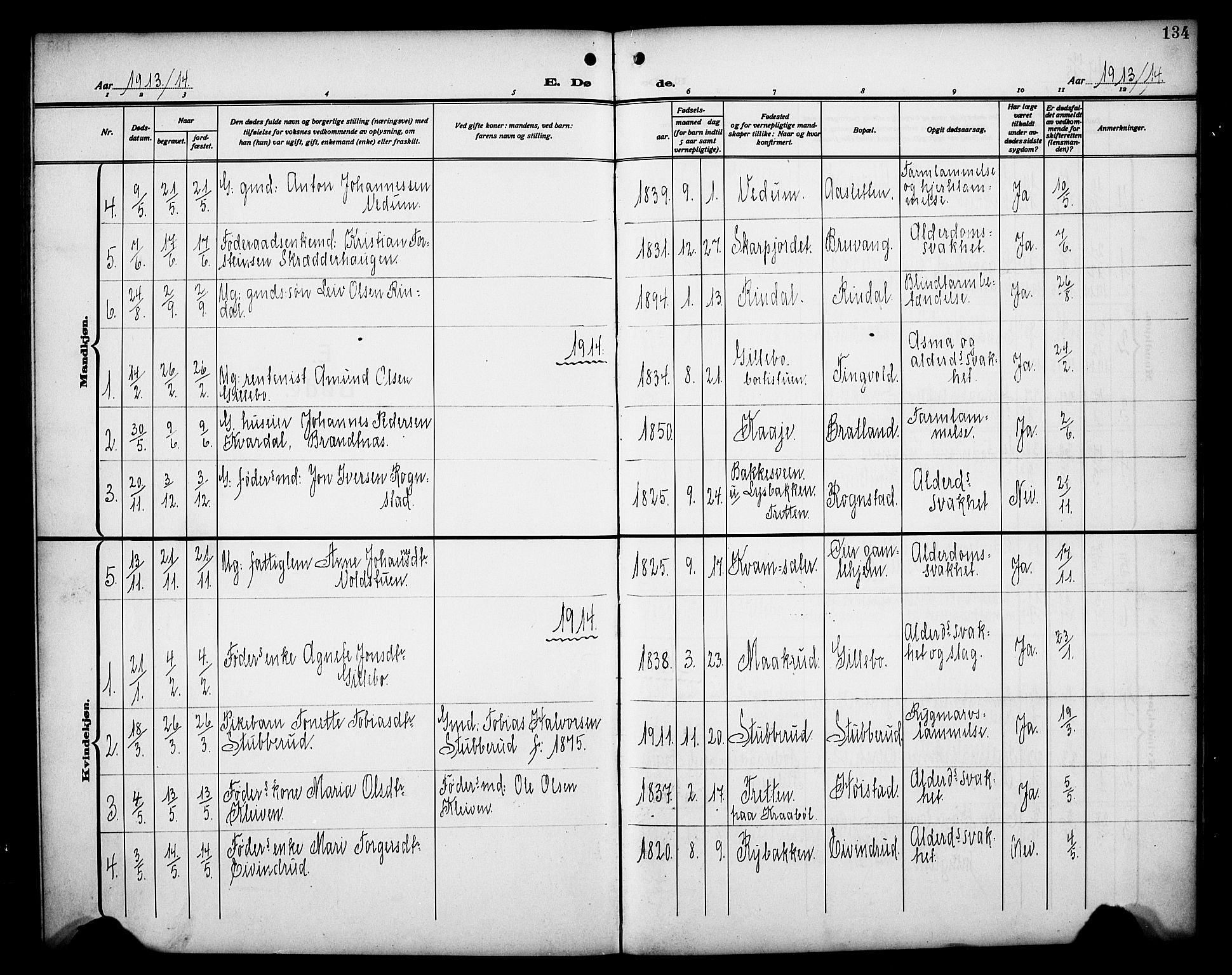 SAH, Øyer prestekontor, Klokkerbok nr. 7, 1913-1928, s. 134