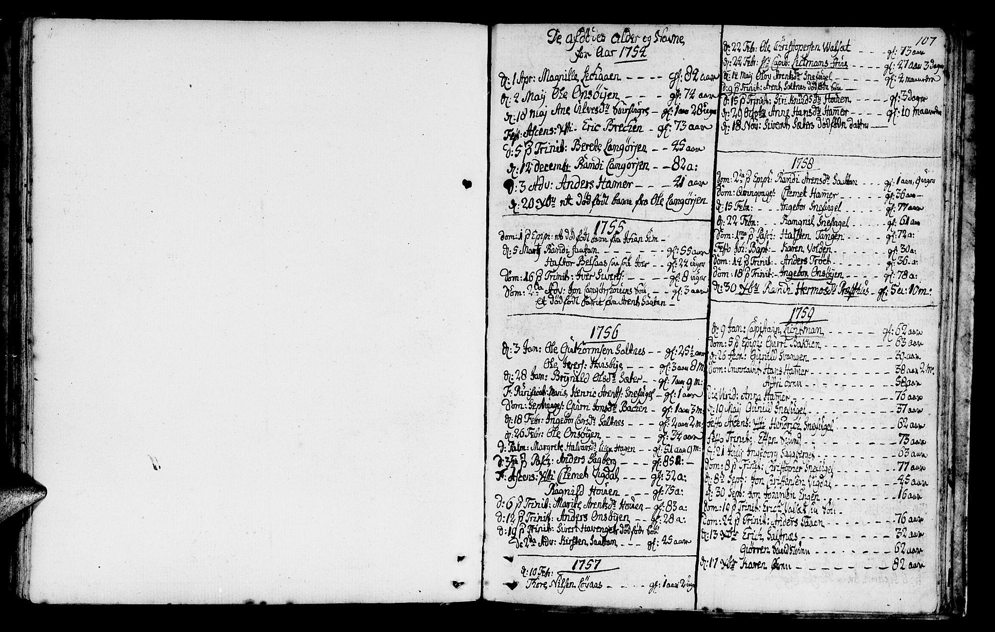 SAT, Ministerialprotokoller, klokkerbøker og fødselsregistre - Sør-Trøndelag, 666/L0784: Ministerialbok nr. 666A02, 1754-1802, s. 107