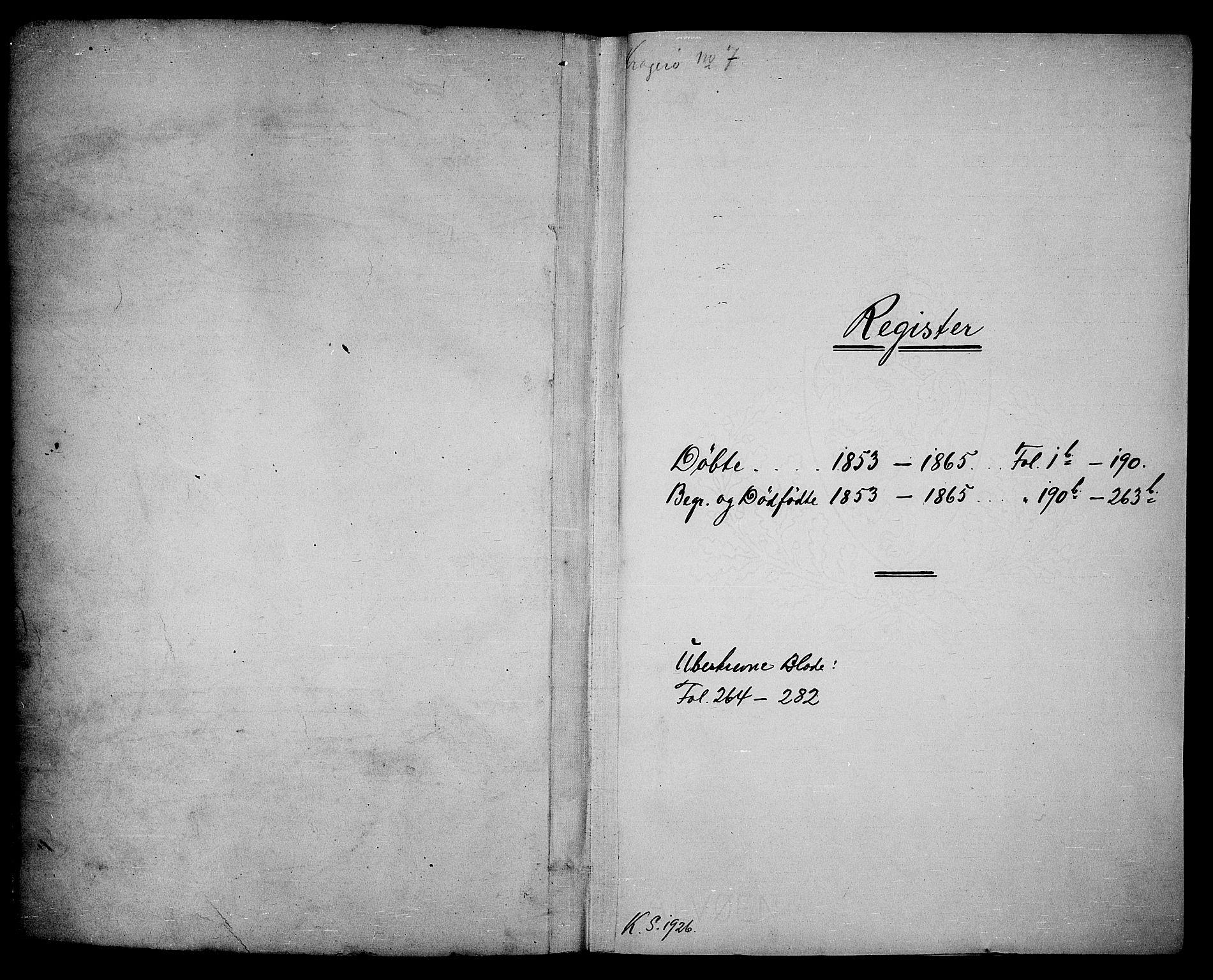 SAKO, Kragerø kirkebøker, G/Ga/L0004: Klokkerbok nr. 4, 1853-1865
