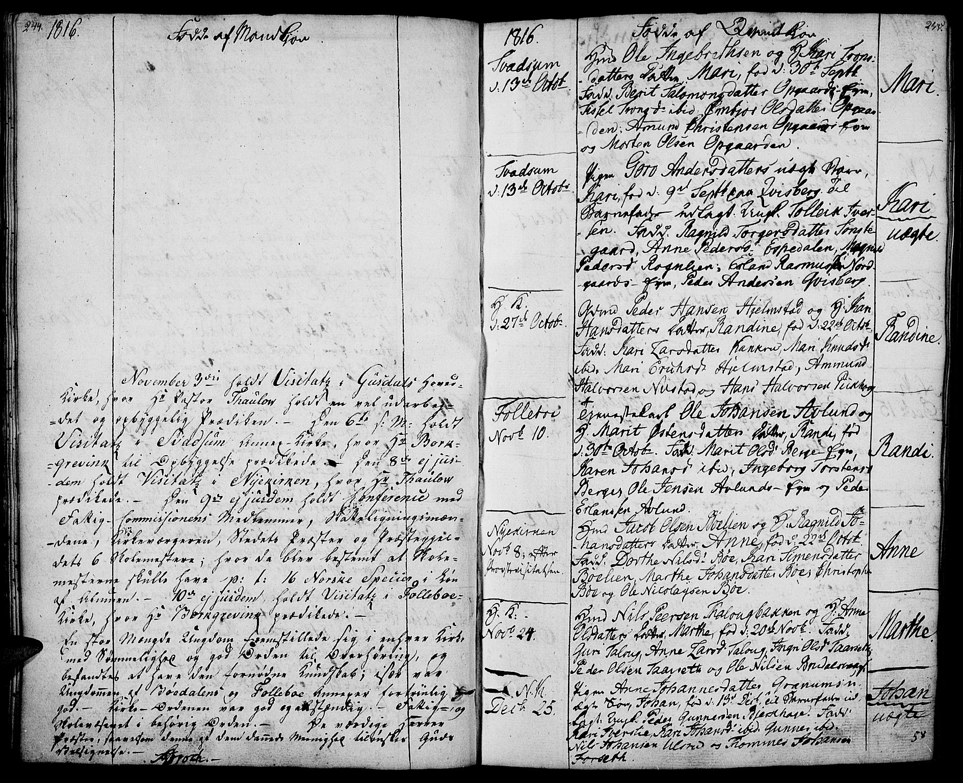 SAH, Gausdal prestekontor, Ministerialbok nr. 4, 1809-1817, s. 244-245