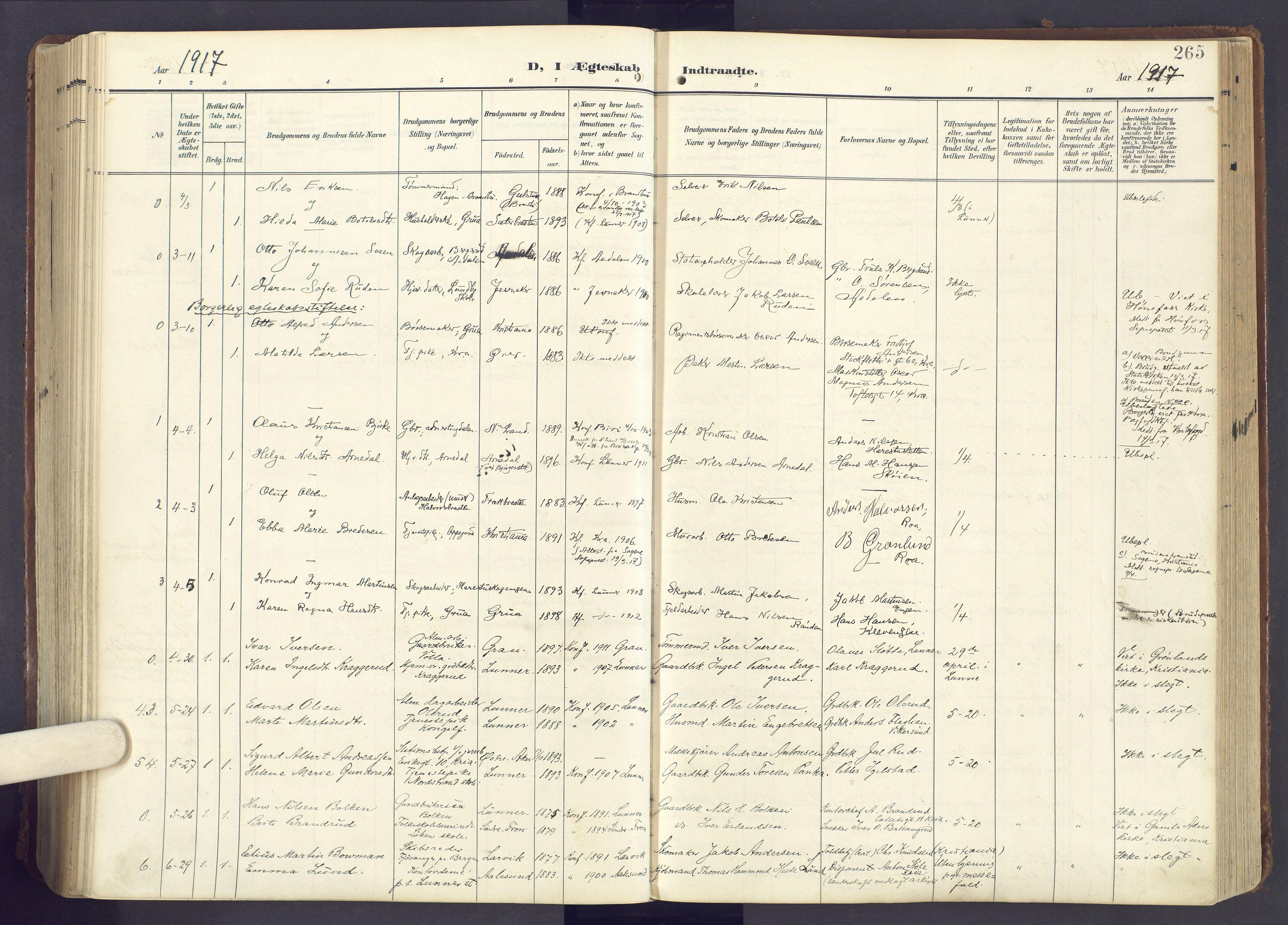SAH, Lunner prestekontor, H/Ha/Haa/L0001: Ministerialbok nr. 1, 1907-1922, s. 265