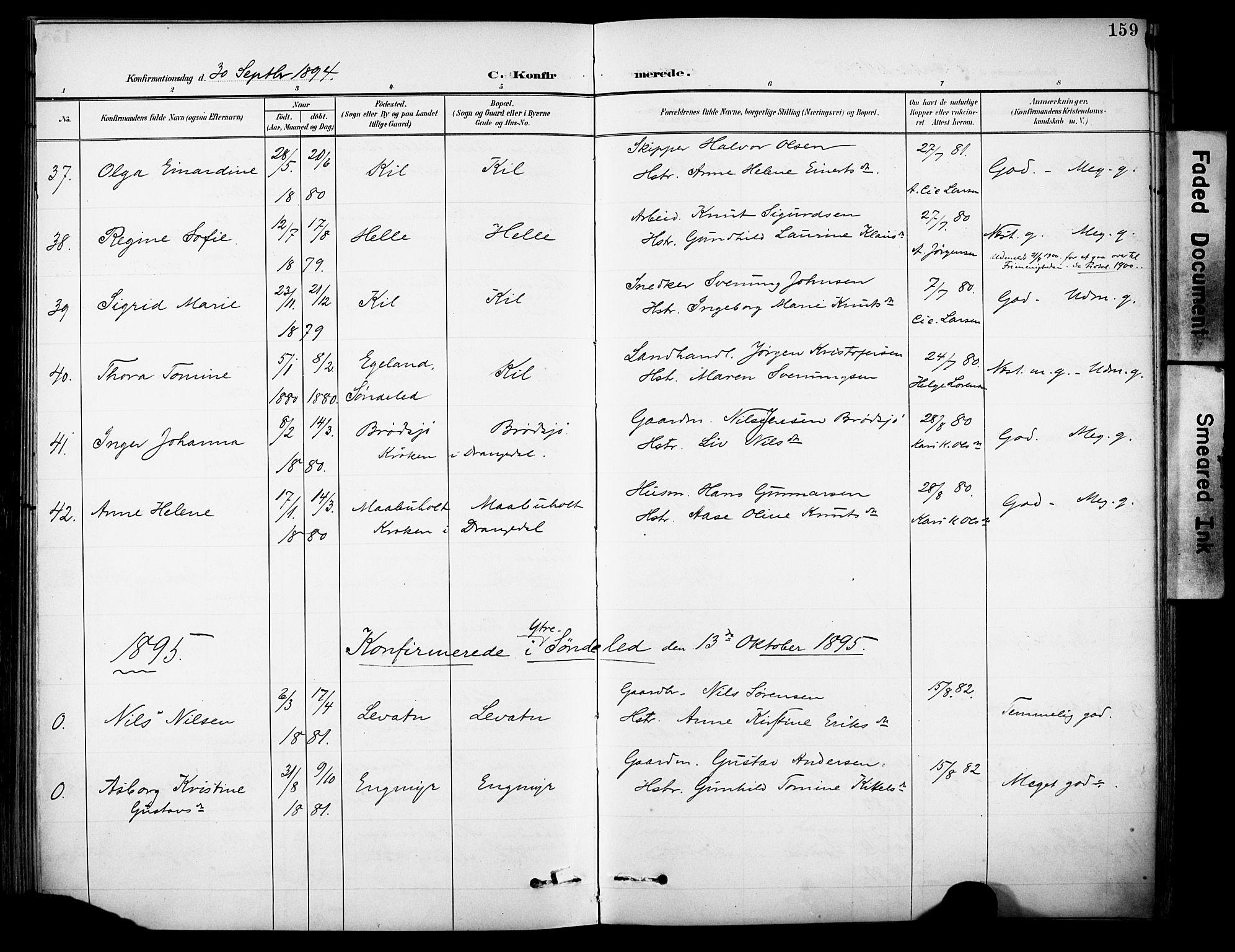 SAKO, Sannidal kirkebøker, F/Fa/L0016: Ministerialbok nr. 16, 1895-1911, s. 159