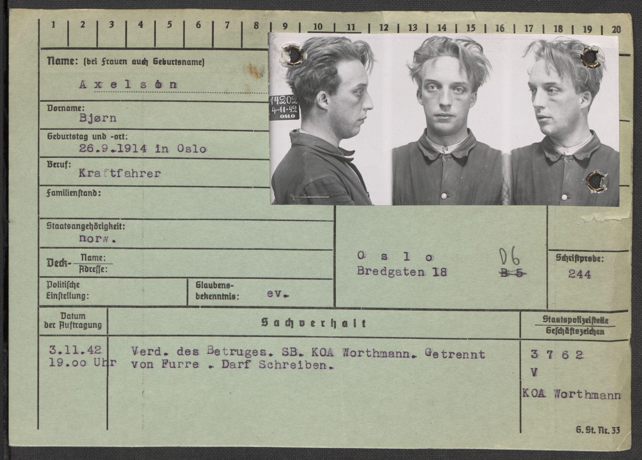 RA, Befehlshaber der Sicherheitspolizei und des SD, E/Ea/Eaa/L0001: Register over norske fanger i Møllergata 19: A-Bj, 1940-1945, s. 721