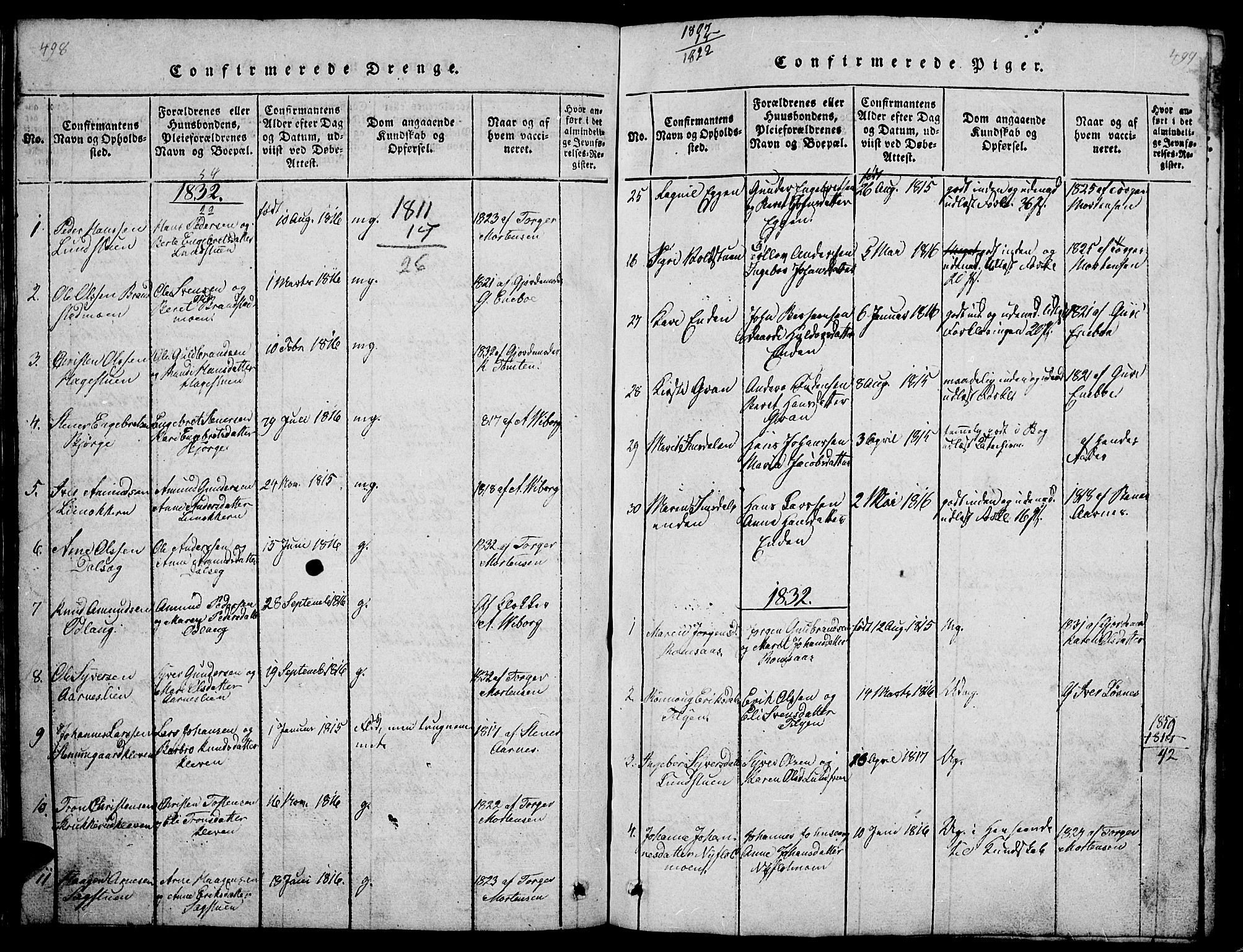 SAH, Ringebu prestekontor, Klokkerbok nr. 1, 1821-1839, s. 498-499
