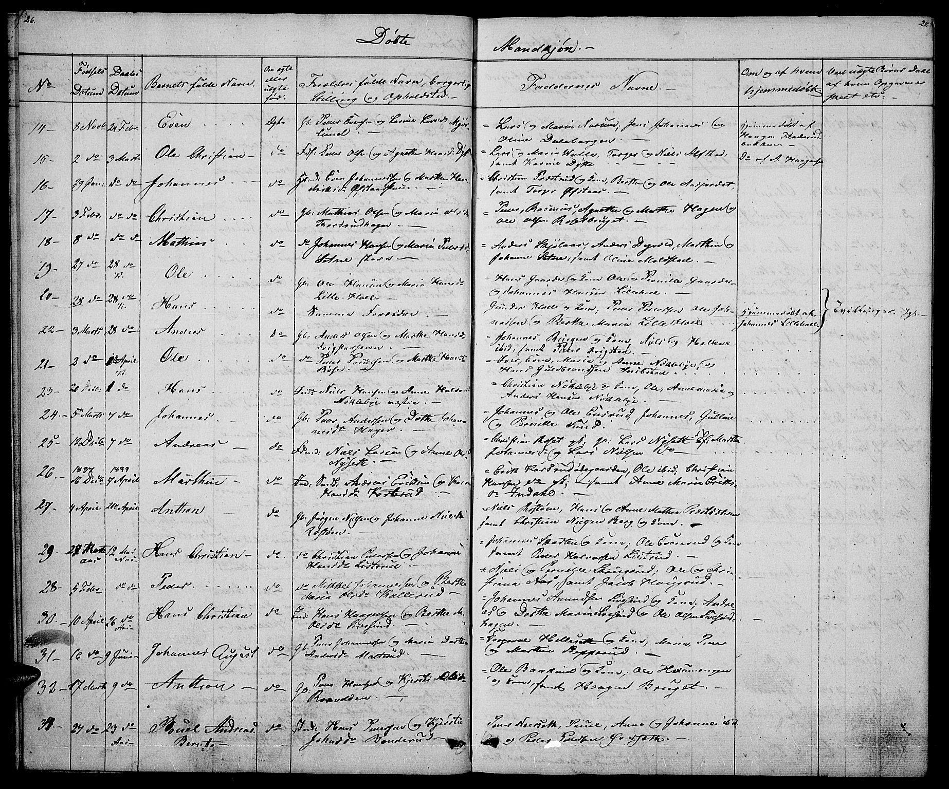 SAH, Vestre Toten prestekontor, H/Ha/Hab/L0002: Klokkerbok nr. 2, 1836-1848, s. 26-27