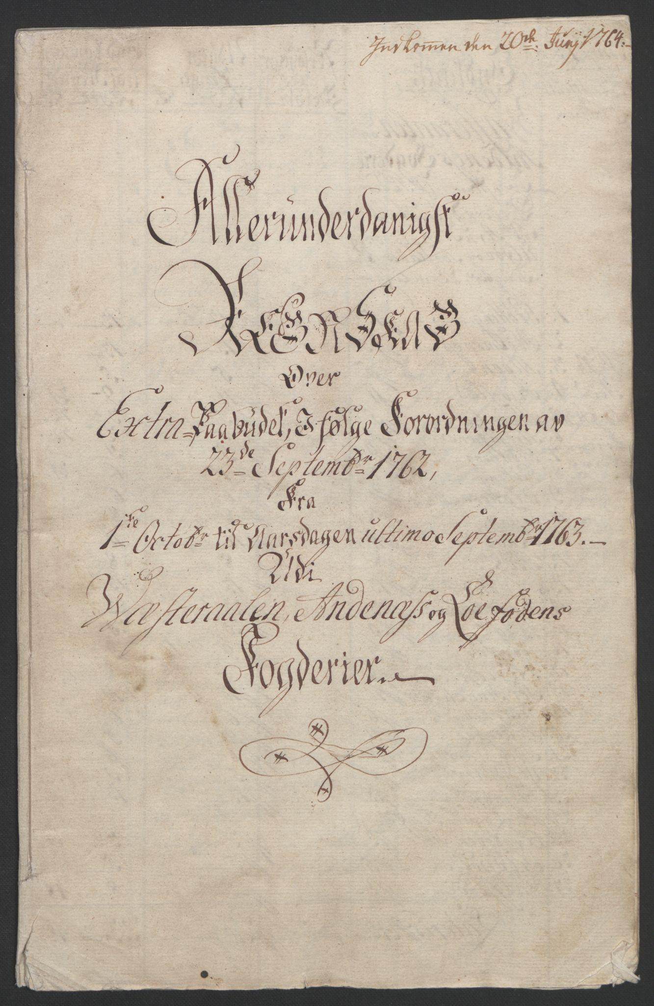 RA, Rentekammeret inntil 1814, Reviderte regnskaper, Fogderegnskap, R67/L4747: Ekstraskatten Vesterålen, Andenes og Lofoten, 1762-1766, s. 5