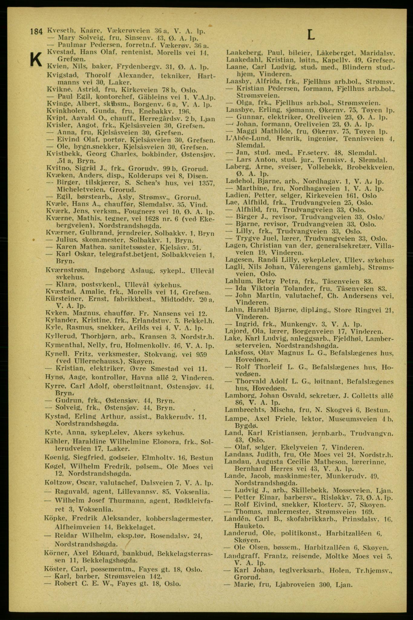 RA, Aker adressebok/adressekalender (publikasjon)*, 1934-1935, s. 184