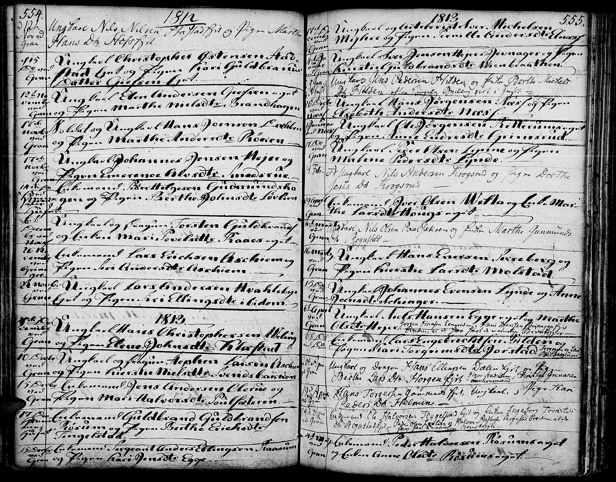 SAH, Gran prestekontor, Ministerialbok nr. 6, 1787-1824, s. 554-555