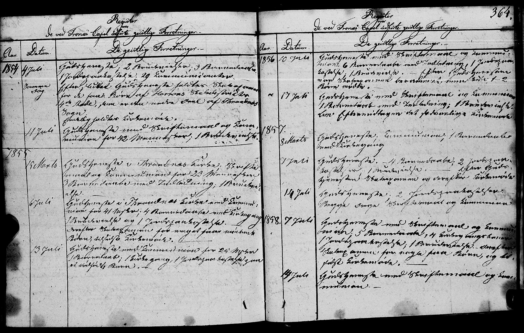 SAT, Ministerialprotokoller, klokkerbøker og fødselsregistre - Nord-Trøndelag, 762/L0538: Ministerialbok nr. 762A02 /2, 1833-1879, s. 364