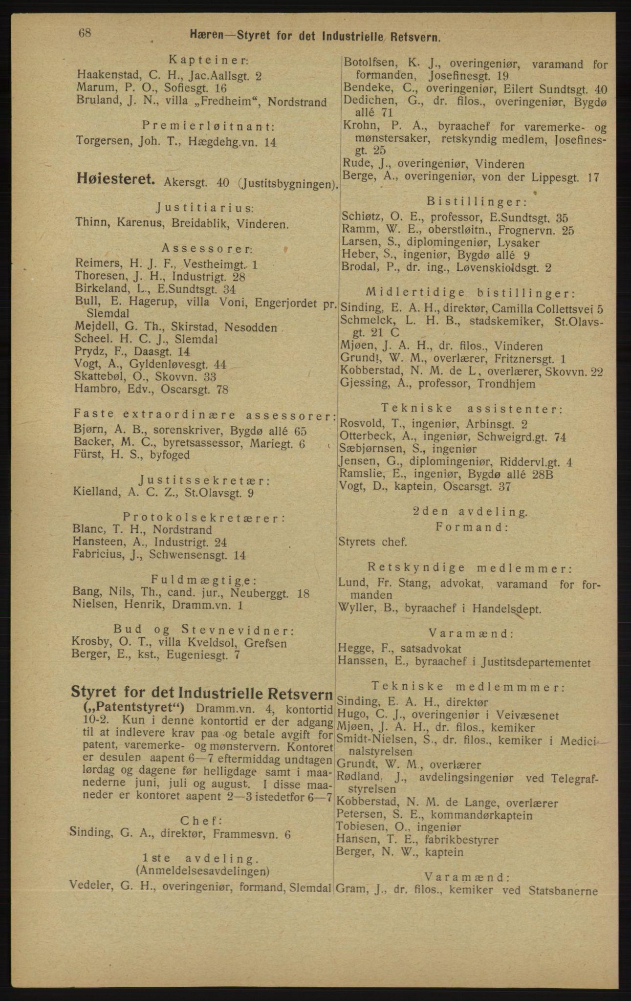 RA, Kristiania adressebok (publikasjon)*, 1913, s. 68