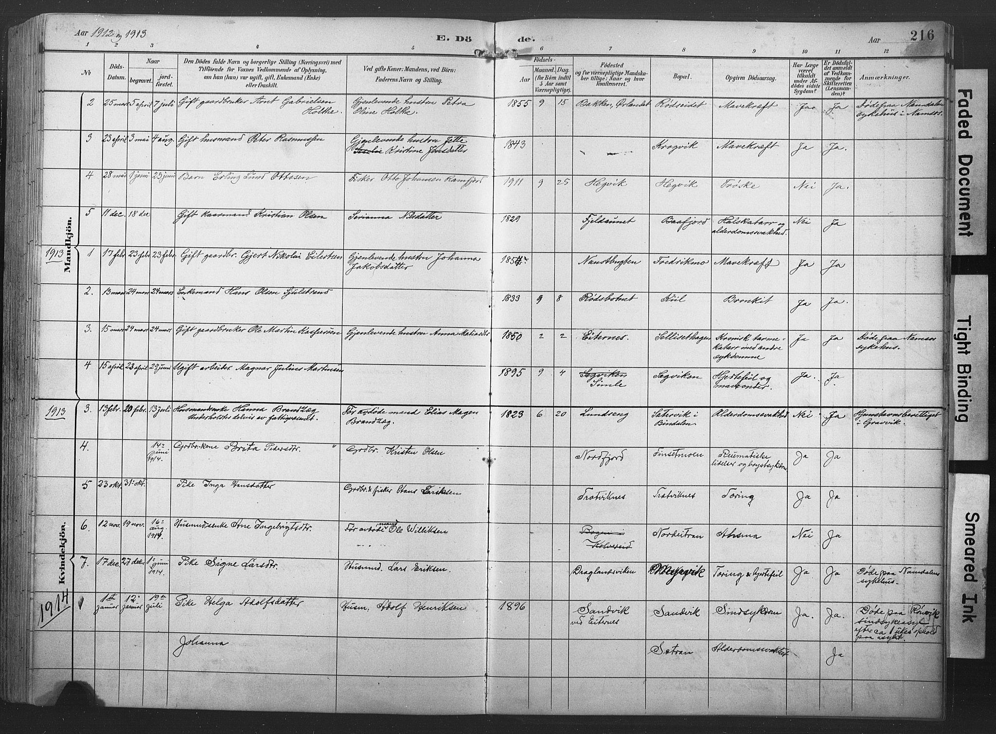 SAT, Ministerialprotokoller, klokkerbøker og fødselsregistre - Nord-Trøndelag, 789/L0706: Klokkerbok nr. 789C01, 1888-1931, s. 216
