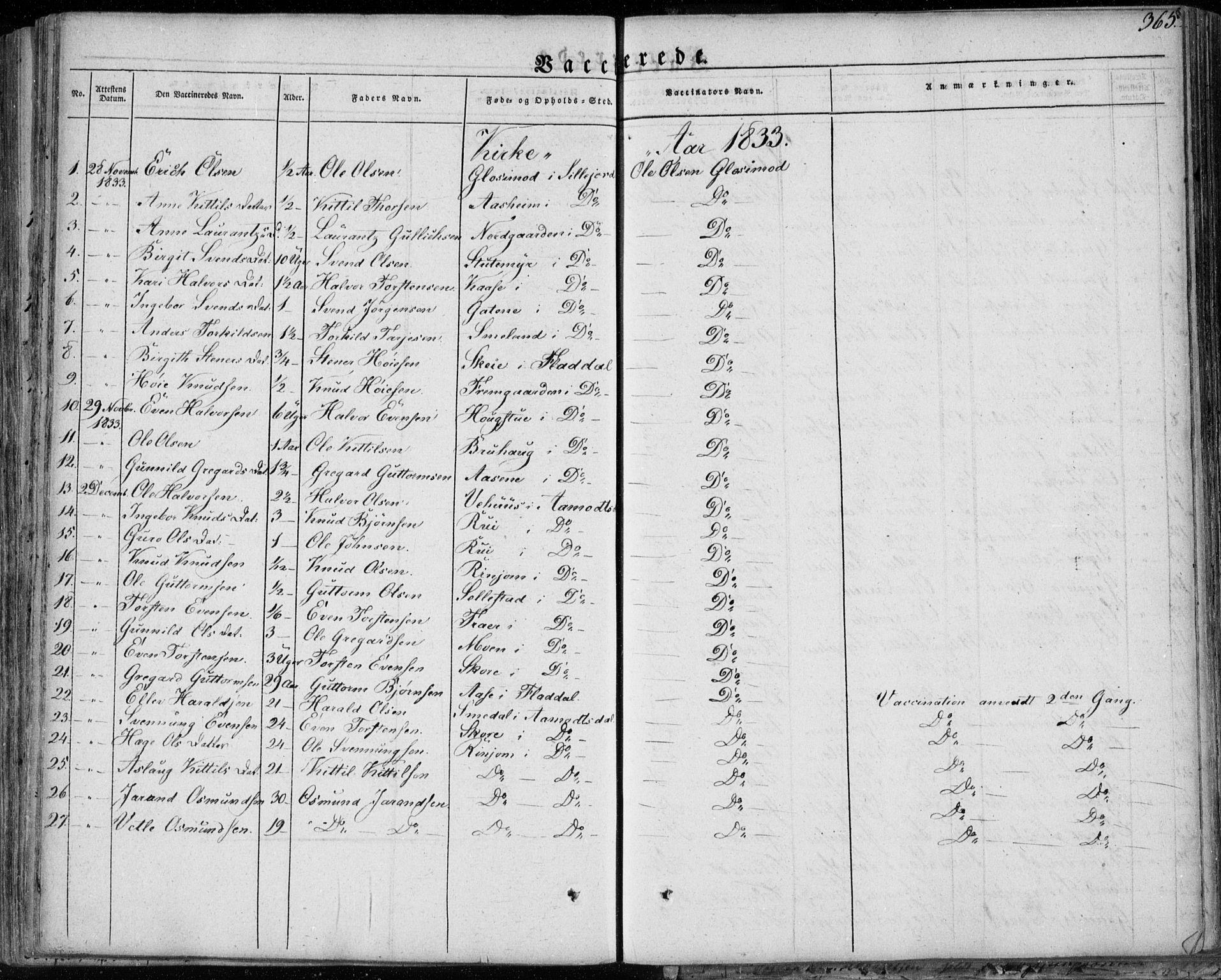 SAKO, Seljord kirkebøker, F/Fa/L0011: Ministerialbok nr. I 11, 1831-1849, s. 365