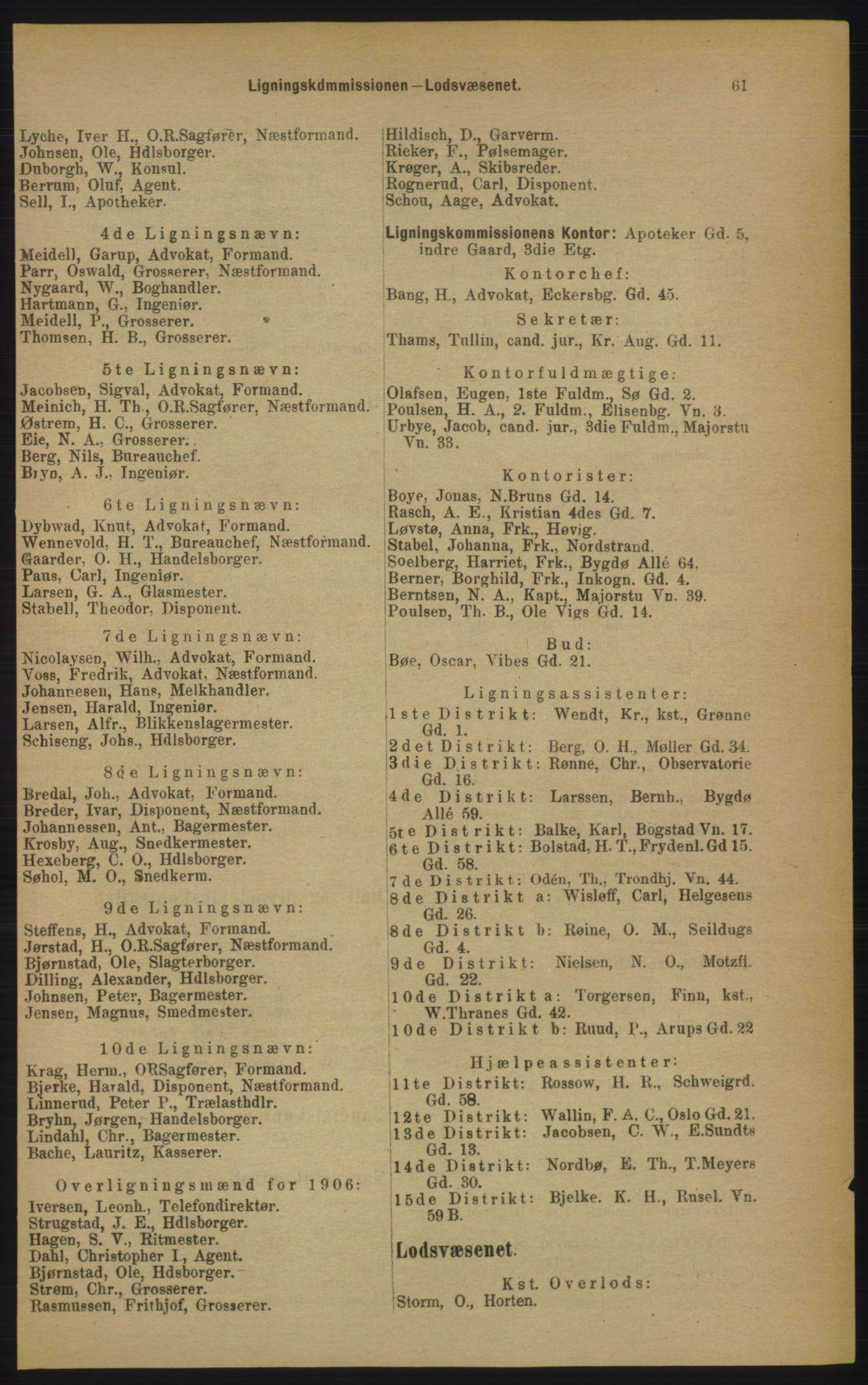 PUBL, Kristiania/Oslo adressebok, 1906, s. 61