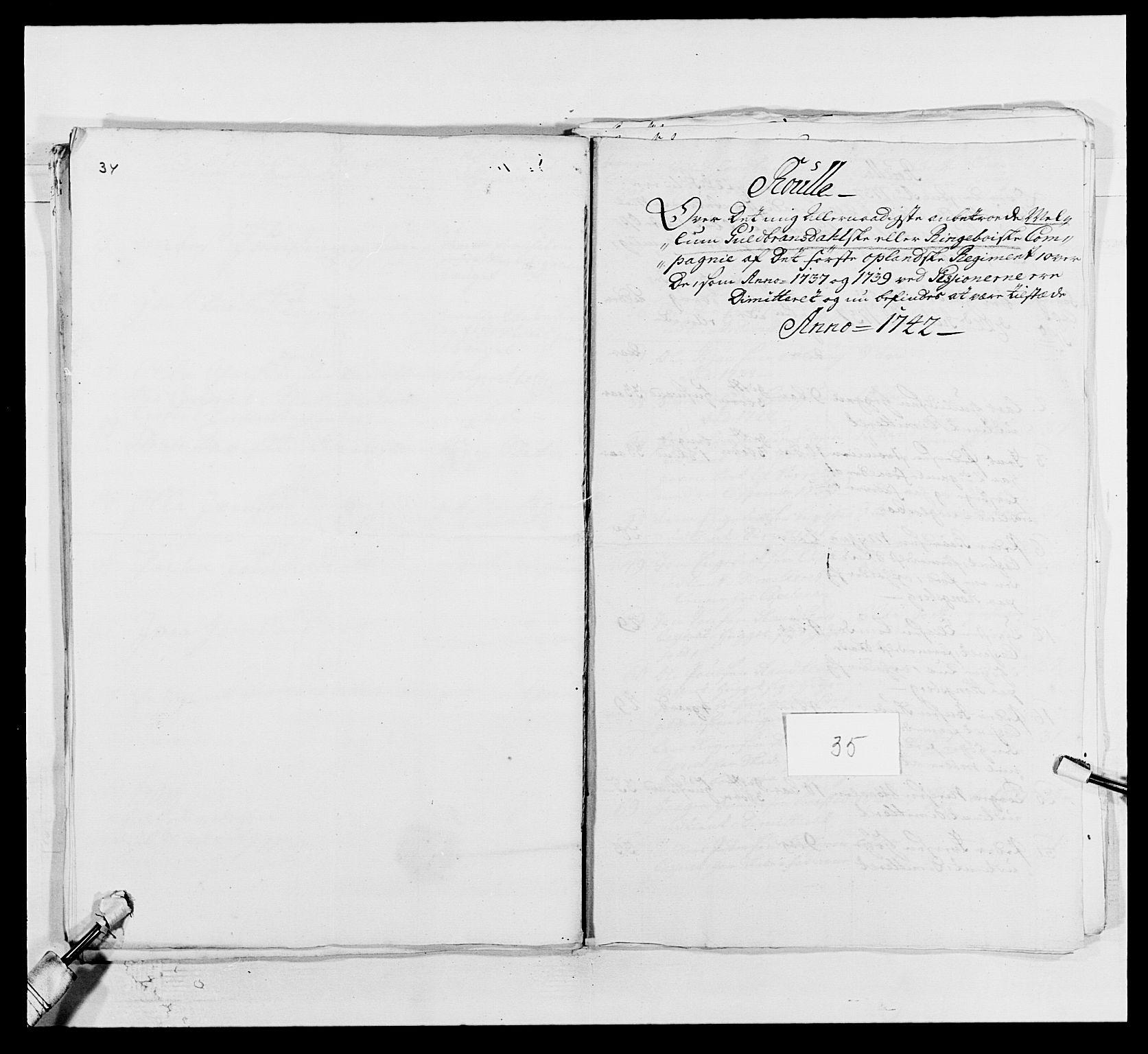 RA, Kommanderende general (KG I) med Det norske krigsdirektorium, E/Ea/L0502: 1. Opplandske regiment, 1720-1743, s. 463