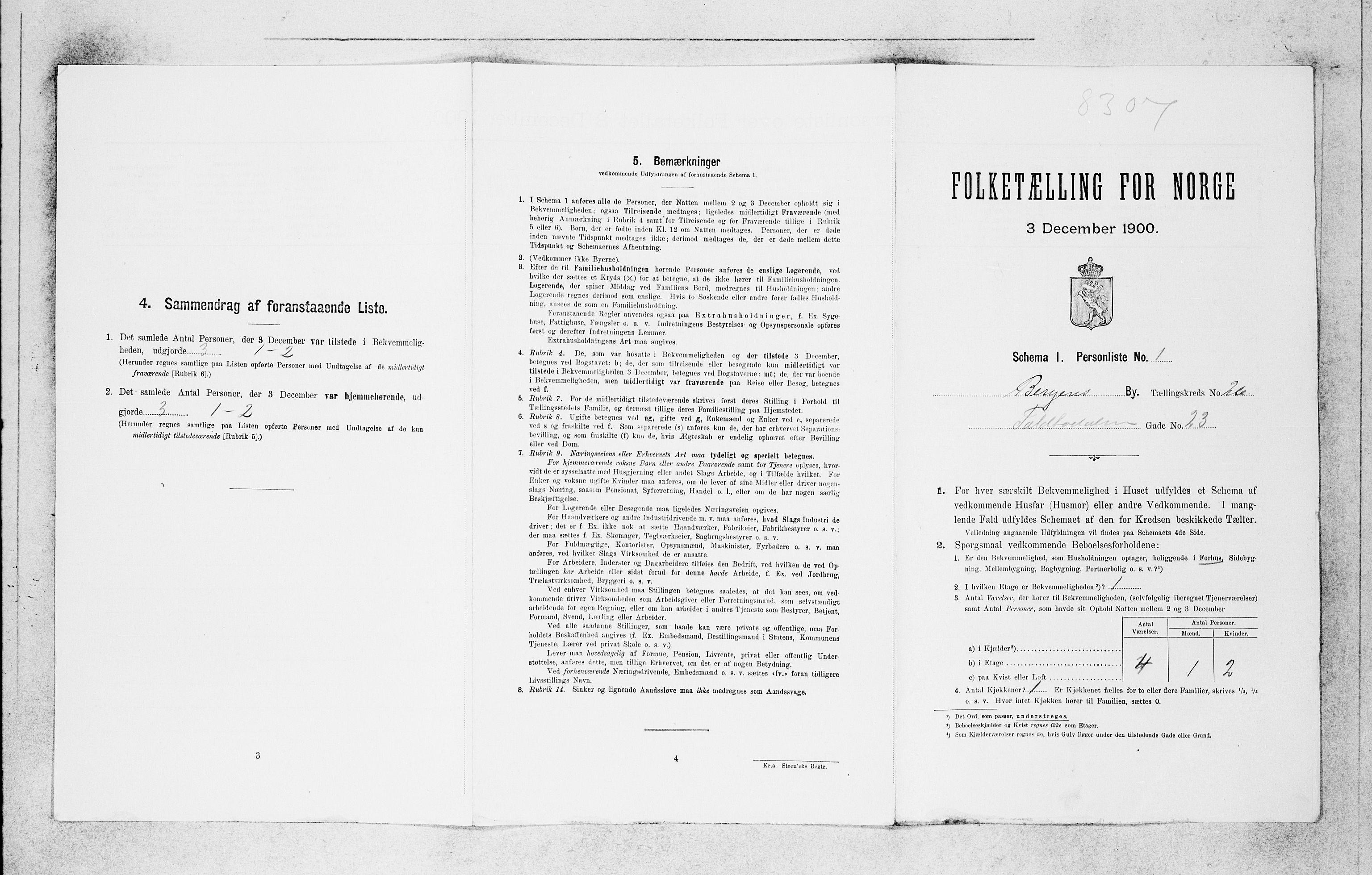SAB, Folketelling 1900 for 1301 Bergen kjøpstad, 1900, s. 5448