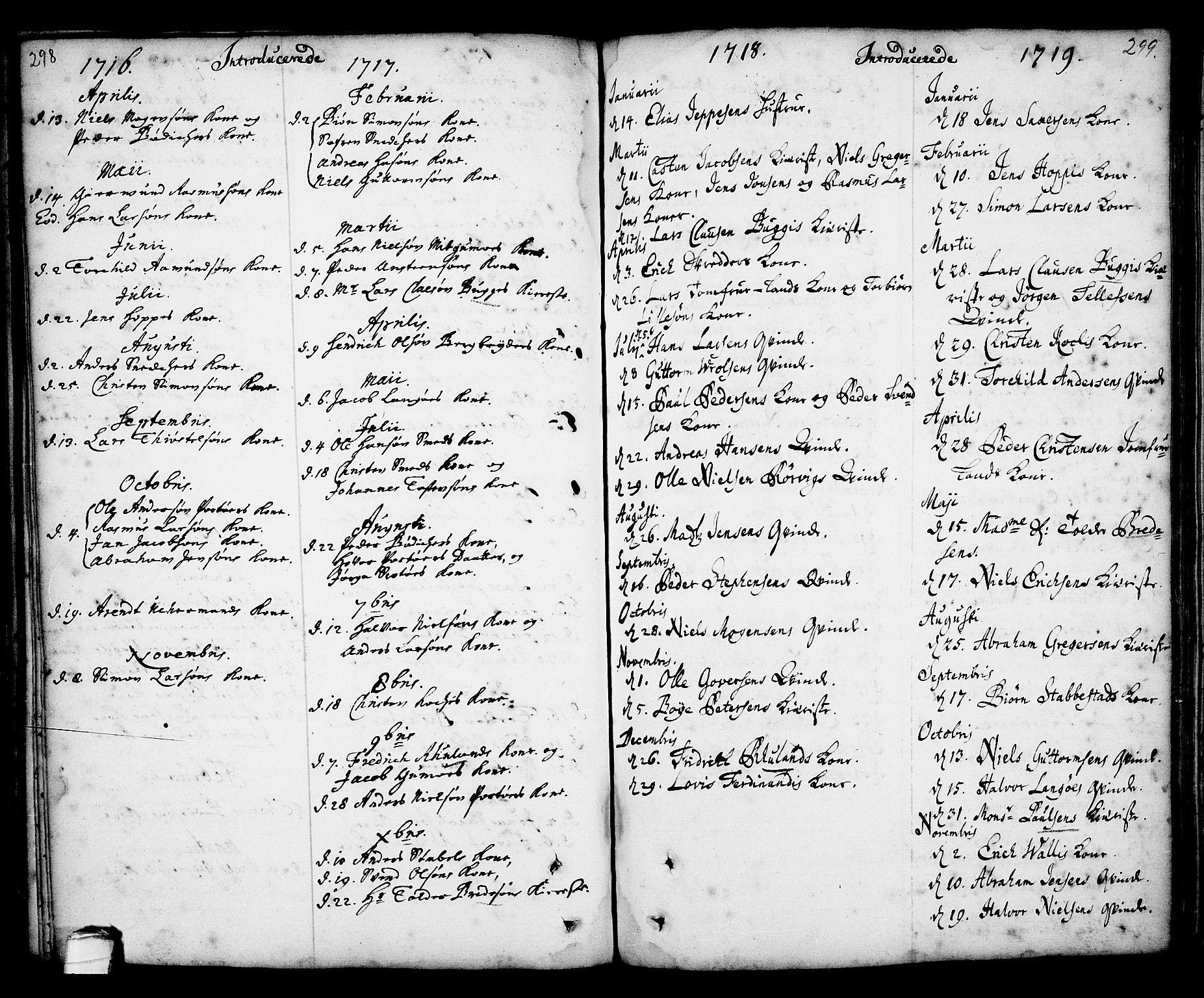 SAKO, Kragerø kirkebøker, F/Fa/L0001: Ministerialbok nr. 1, 1702-1766, s. 298-299
