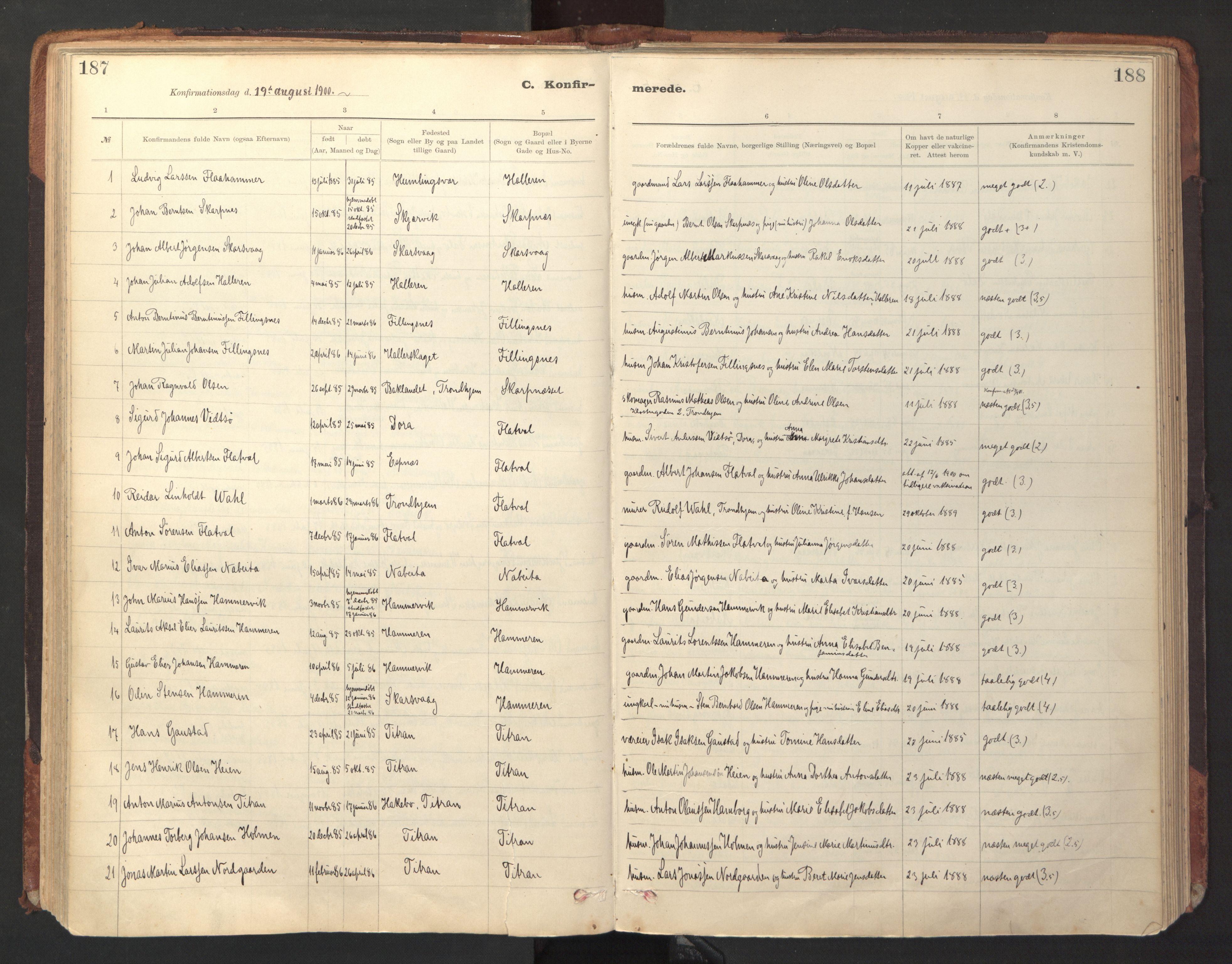 SAT, Ministerialprotokoller, klokkerbøker og fødselsregistre - Sør-Trøndelag, 641/L0596: Ministerialbok nr. 641A02, 1898-1915, s. 187-188