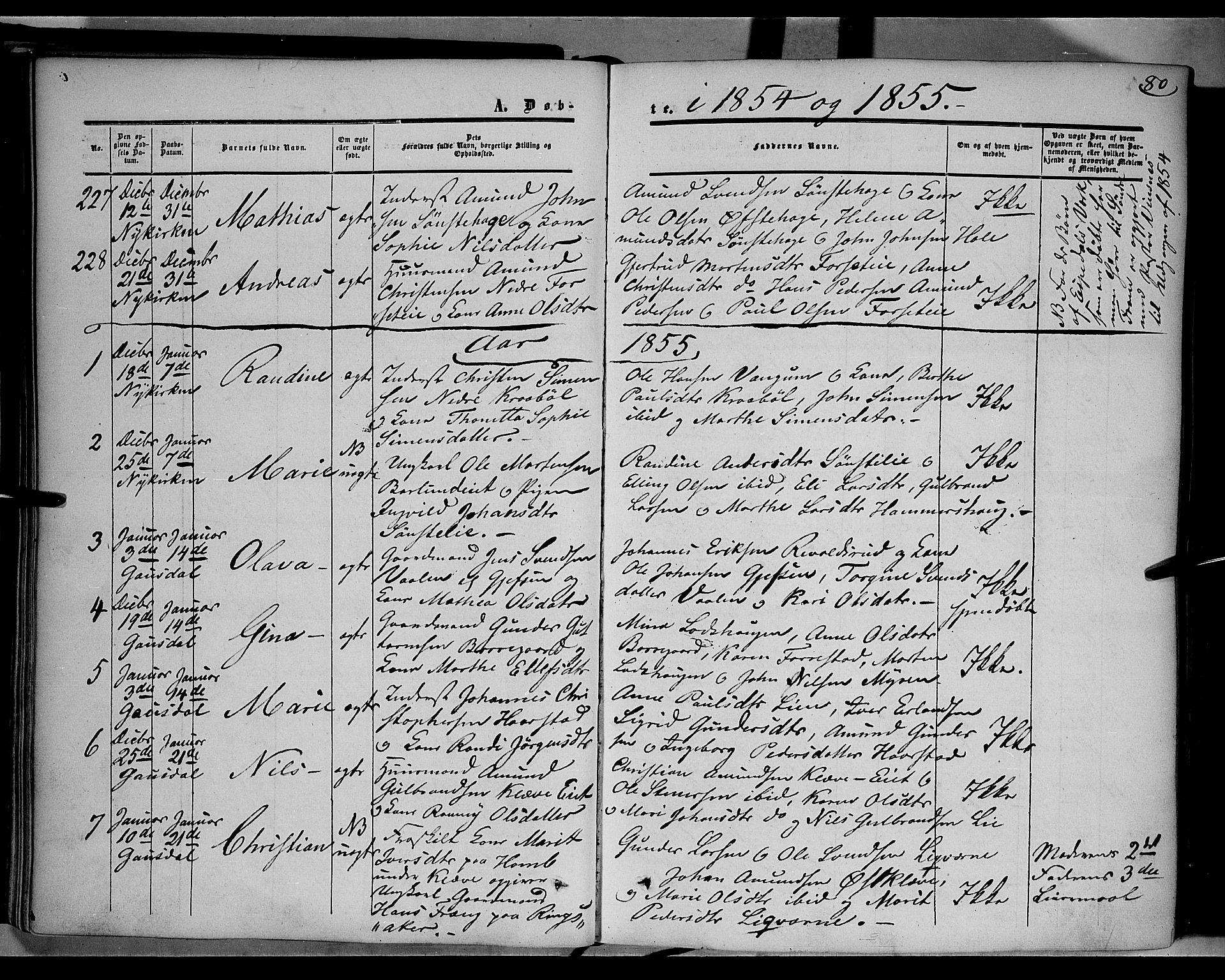 SAH, Gausdal prestekontor, Ministerialbok nr. 8, 1850-1861, s. 80