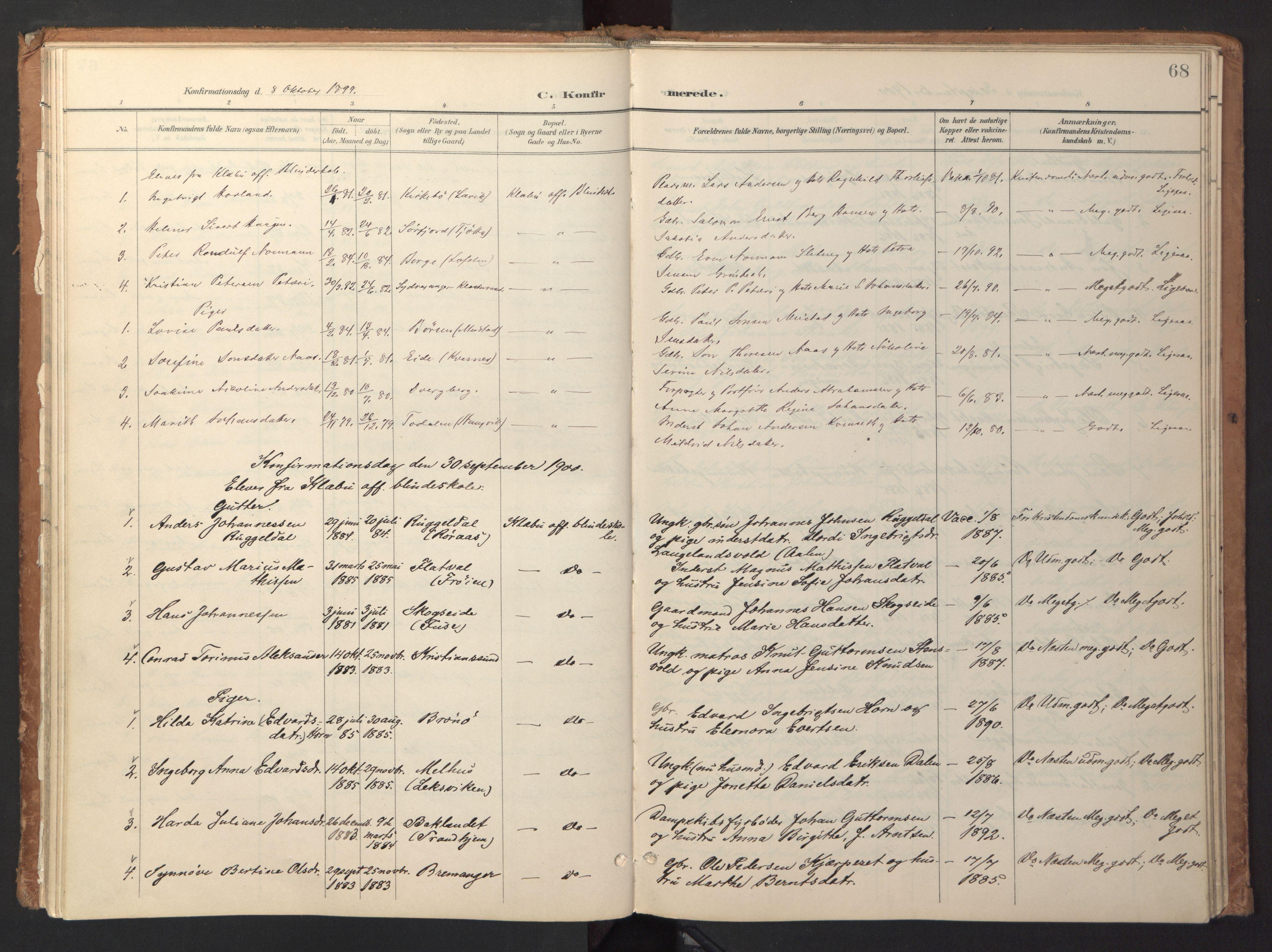 SAT, Ministerialprotokoller, klokkerbøker og fødselsregistre - Sør-Trøndelag, 618/L0448: Ministerialbok nr. 618A11, 1898-1916, s. 68