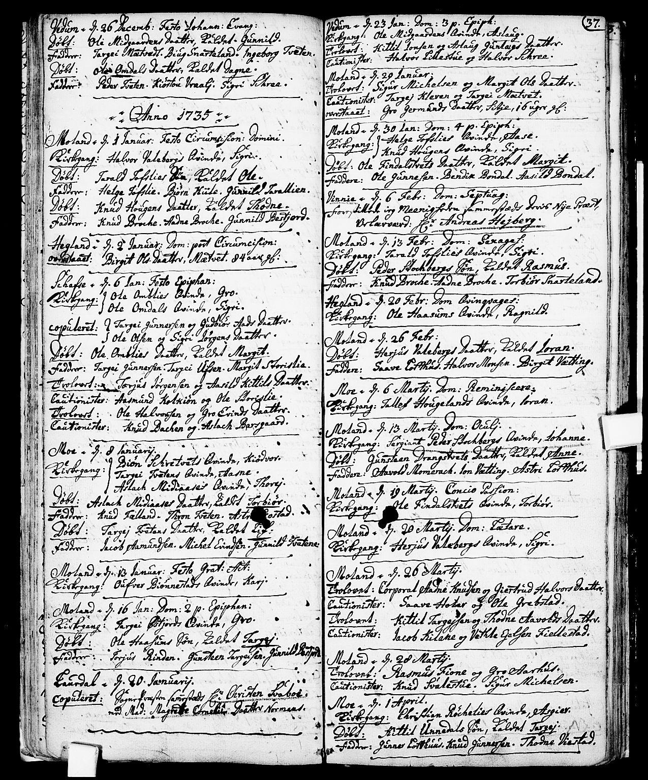 SAKO, Fyresdal kirkebøker, F/Fa/L0001: Ministerialbok nr. I 1, 1724-1748, s. 37