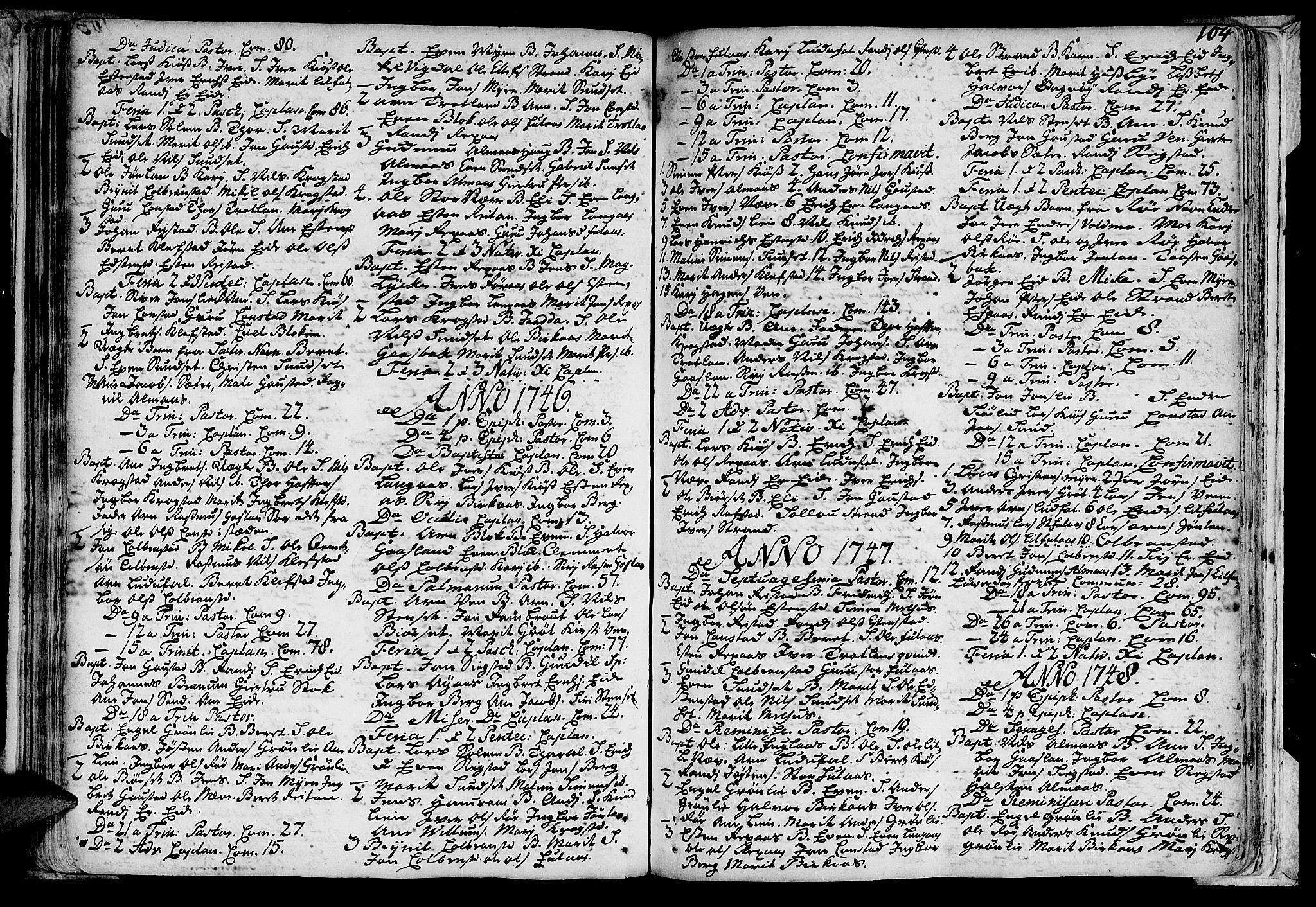 SAT, Ministerialprotokoller, klokkerbøker og fødselsregistre - Sør-Trøndelag, 691/L1060: Ministerialbok nr. 691A01 /4, 1740-1767, s. 104