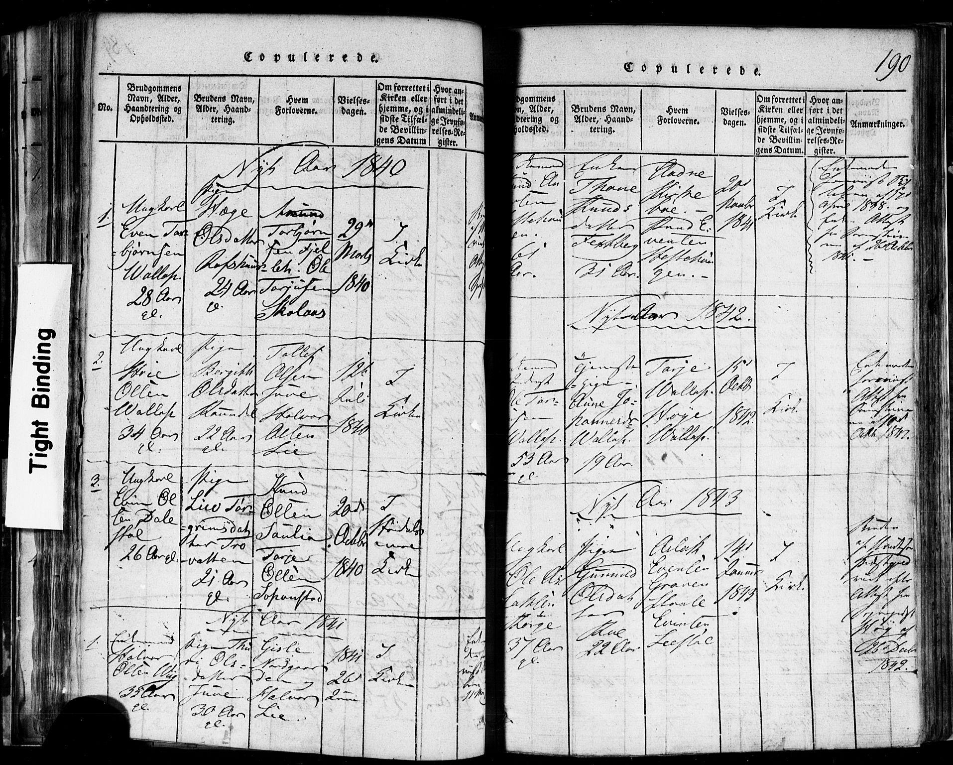 SAKO, Rauland kirkebøker, F/Fa/L0002: Ministerialbok nr. 2, 1815-1860, s. 190
