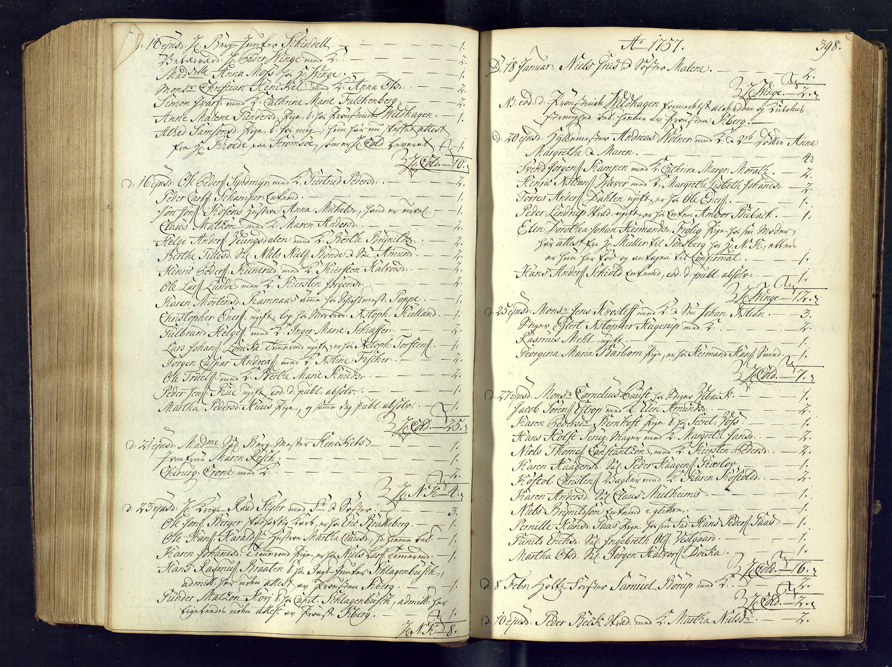 SAKO, Kongsberg kirkebøker, M/Ma/L0005: Kommunikantprotokoll nr. 5, 1755-1761, s. 398
