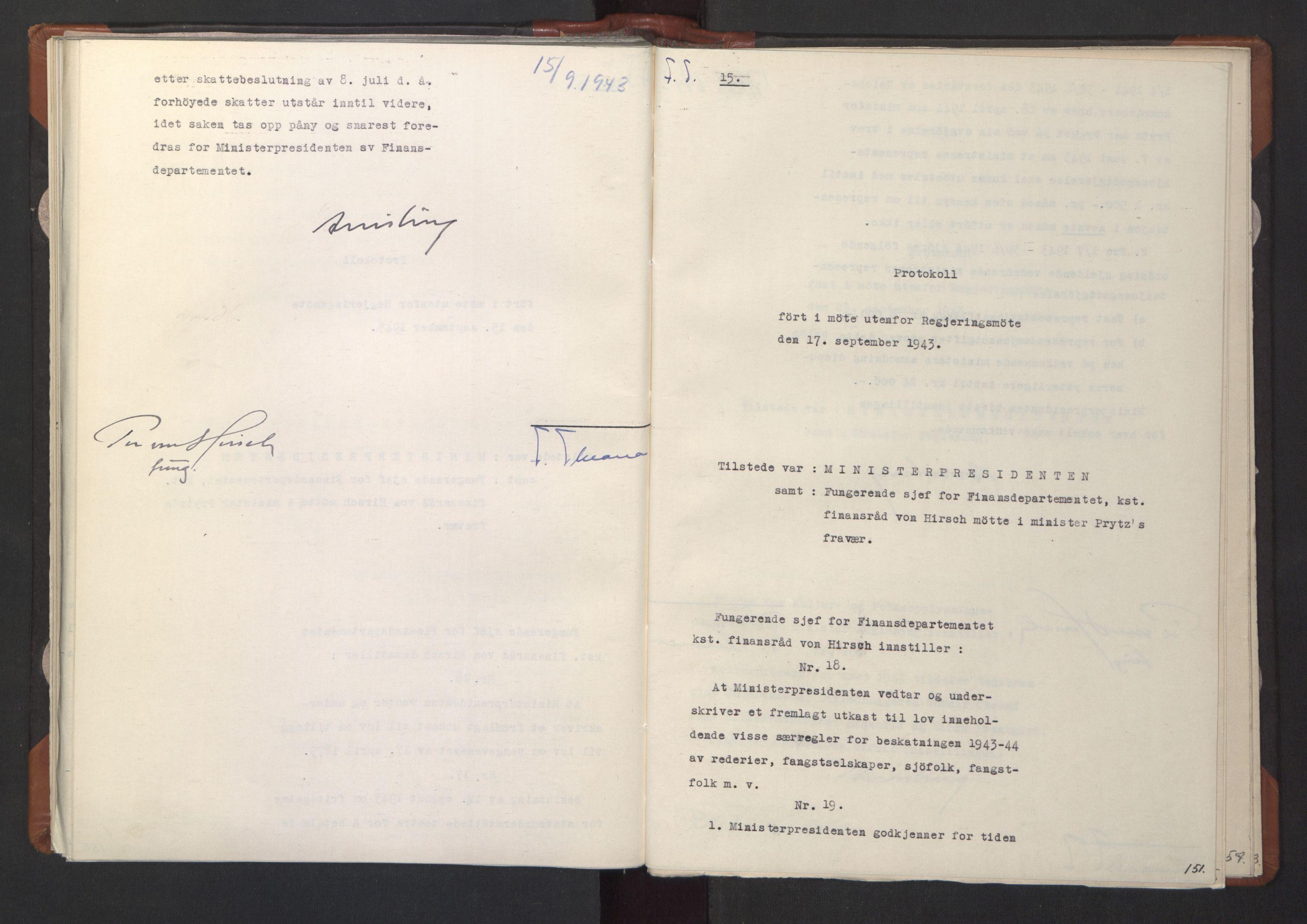 RA, NS-administrasjonen 1940-1945 (Statsrådsekretariatet, de kommisariske statsråder mm), D/Da/L0003: Vedtak (Beslutninger) nr. 1-746 og tillegg nr. 1-47 (RA. j.nr. 1394/1944, tilgangsnr. 8/1944, 1943, s. 150b-151a