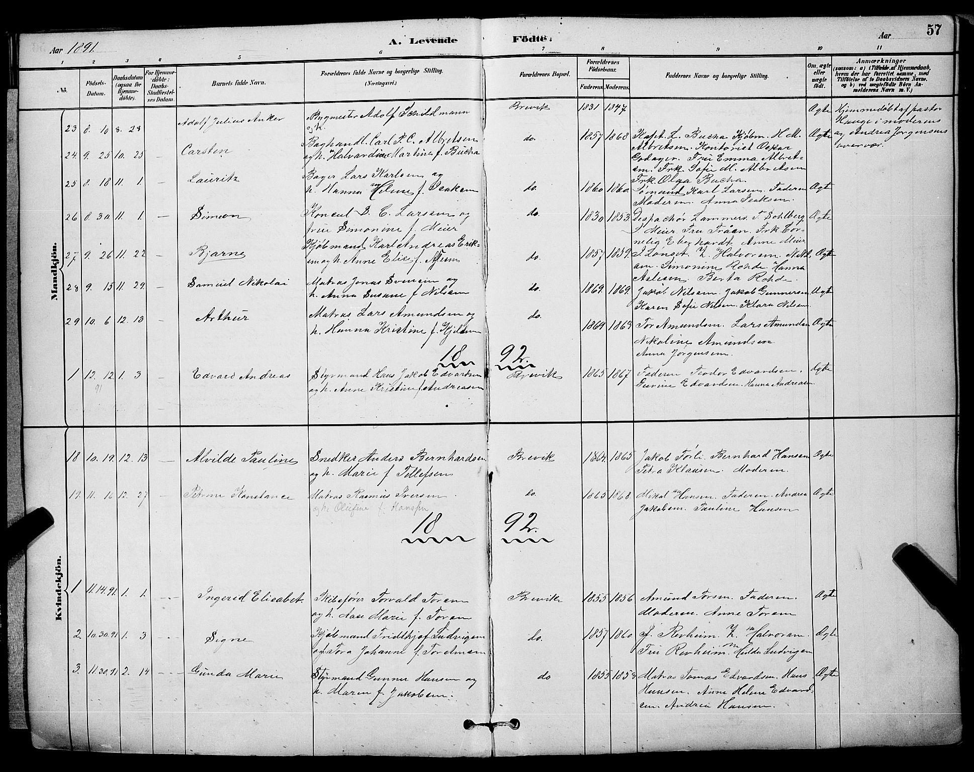 SAKO, Brevik kirkebøker, G/Ga/L0004: Klokkerbok nr. 4, 1882-1900, s. 57