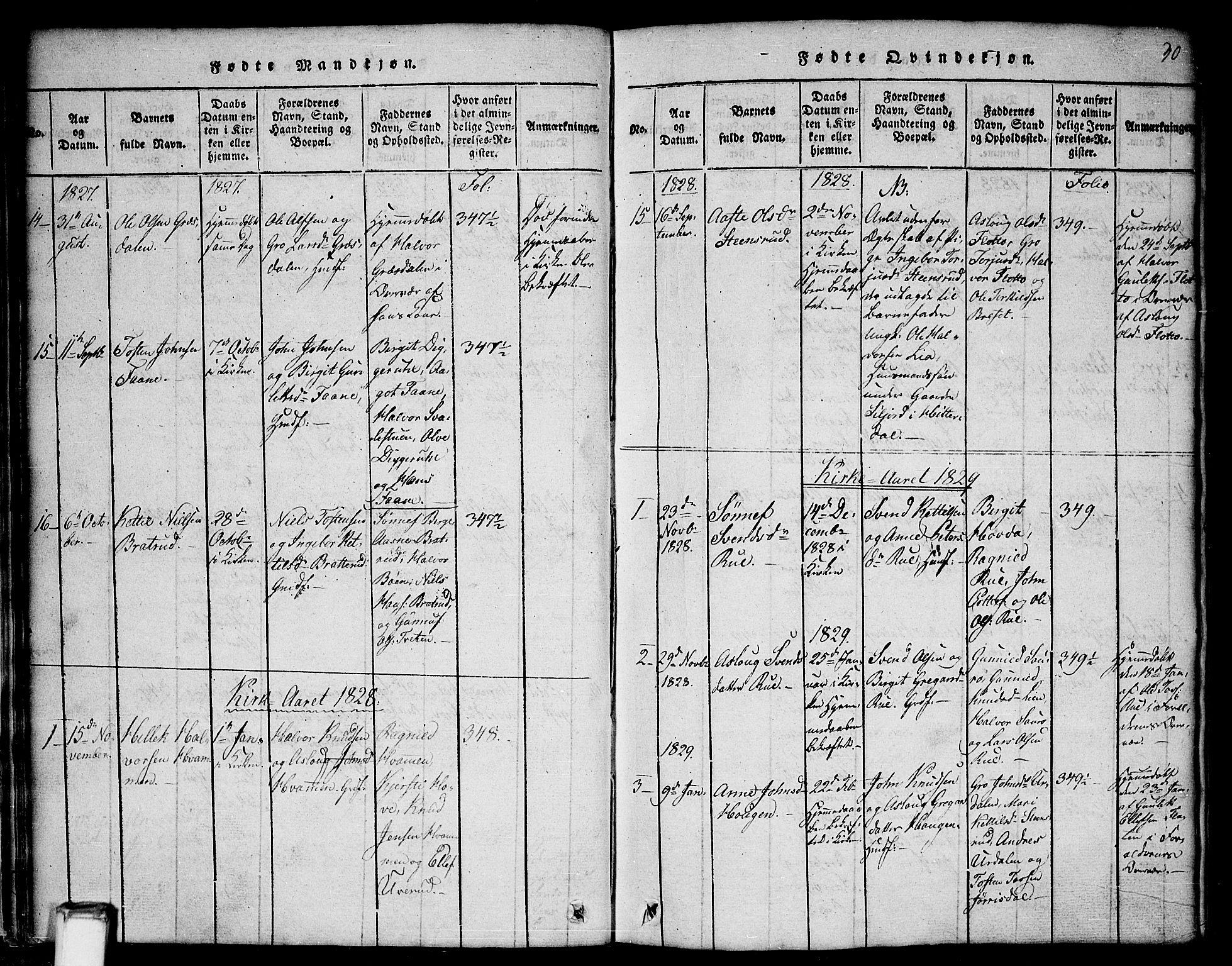 SAKO, Gransherad kirkebøker, G/Gb/L0001: Klokkerbok nr. II 1, 1815-1860, s. 30