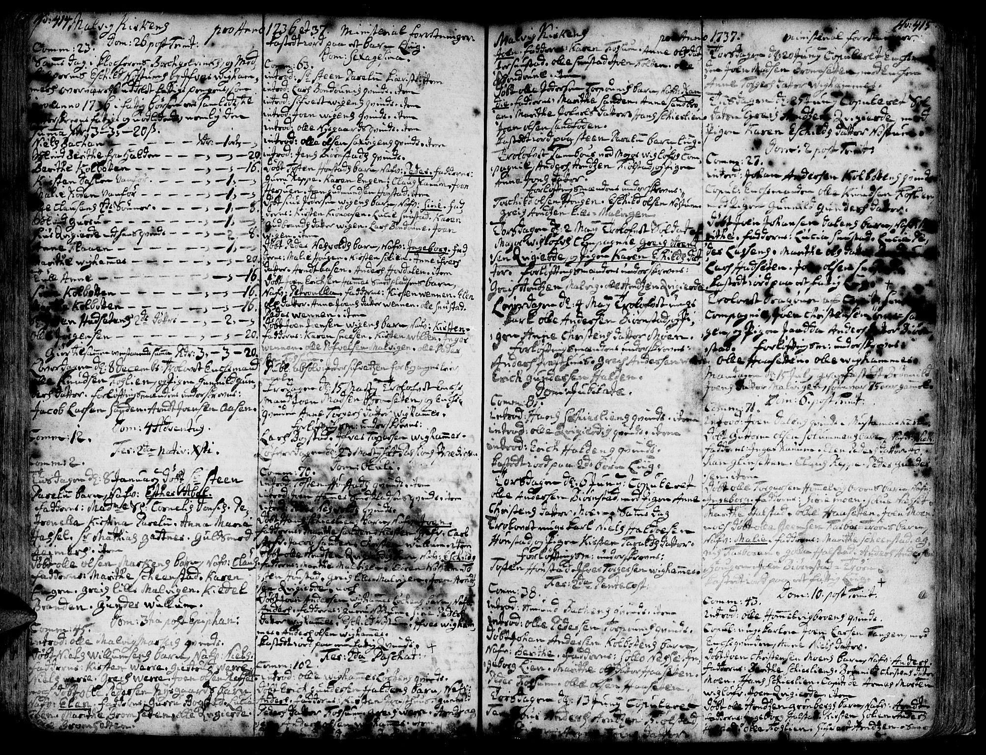 SAT, Ministerialprotokoller, klokkerbøker og fødselsregistre - Sør-Trøndelag, 606/L0277: Ministerialbok nr. 606A01 /3, 1727-1780, s. 414-415