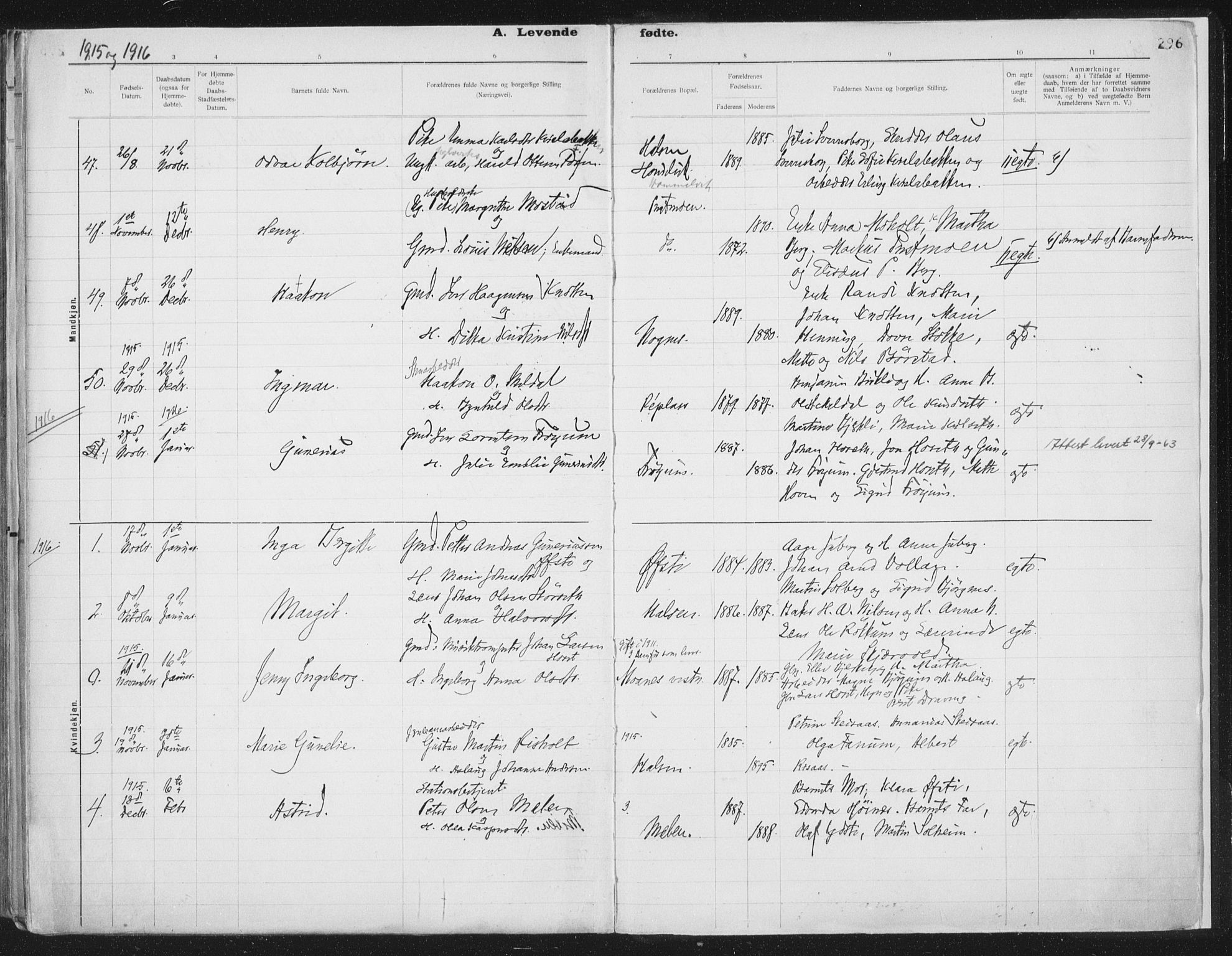 SAT, Ministerialprotokoller, klokkerbøker og fødselsregistre - Nord-Trøndelag, 709/L0082: Ministerialbok nr. 709A22, 1896-1916, s. 296