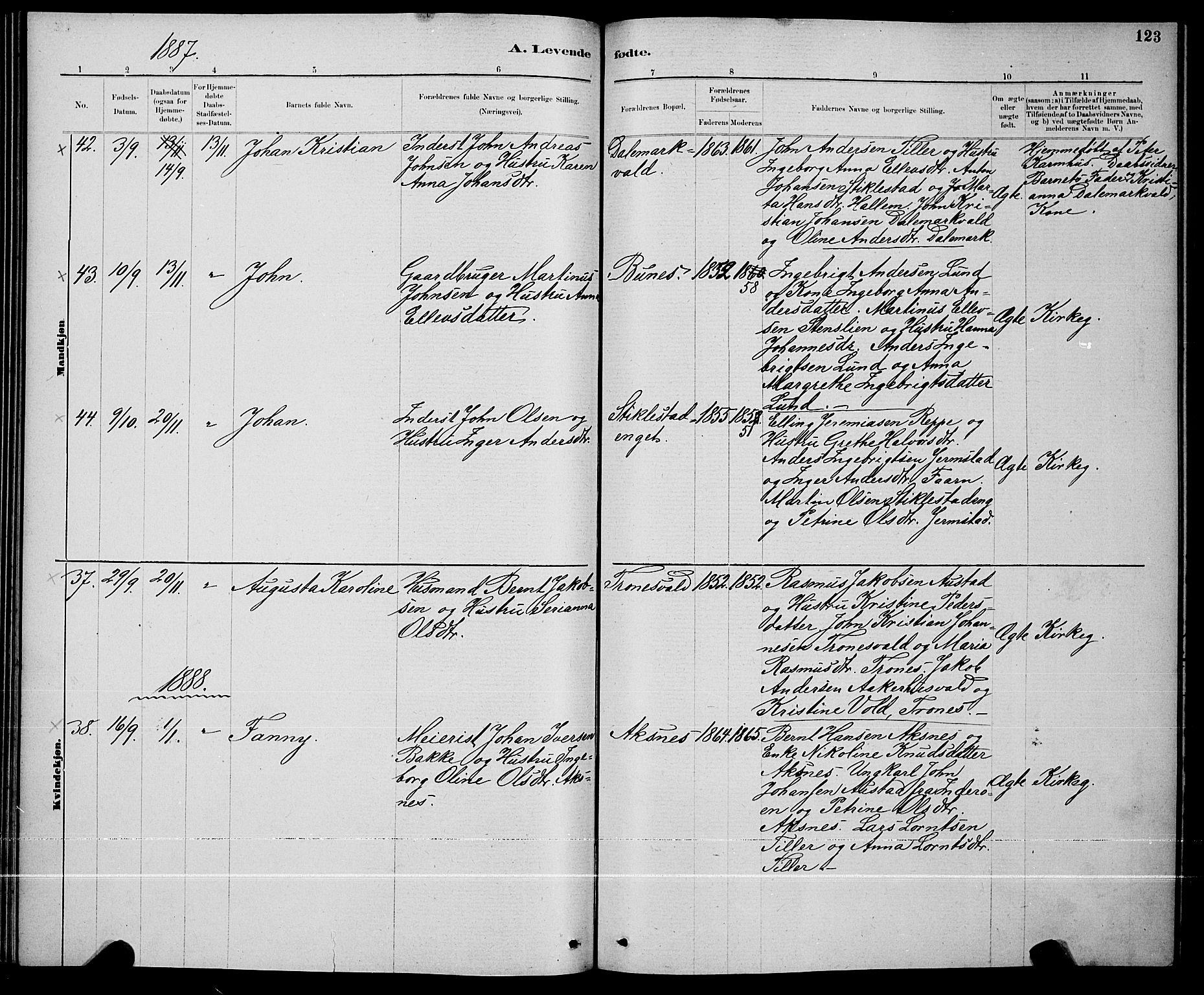 SAT, Ministerialprotokoller, klokkerbøker og fødselsregistre - Nord-Trøndelag, 723/L0256: Klokkerbok nr. 723C04, 1879-1890, s. 123