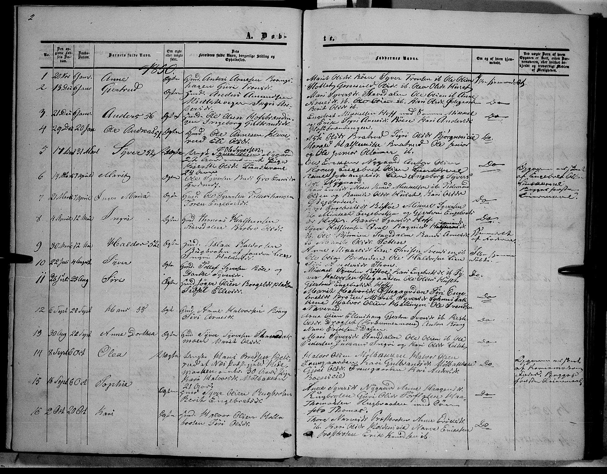 SAH, Sør-Aurdal prestekontor, Ministerialbok nr. 6, 1849-1876, s. 2