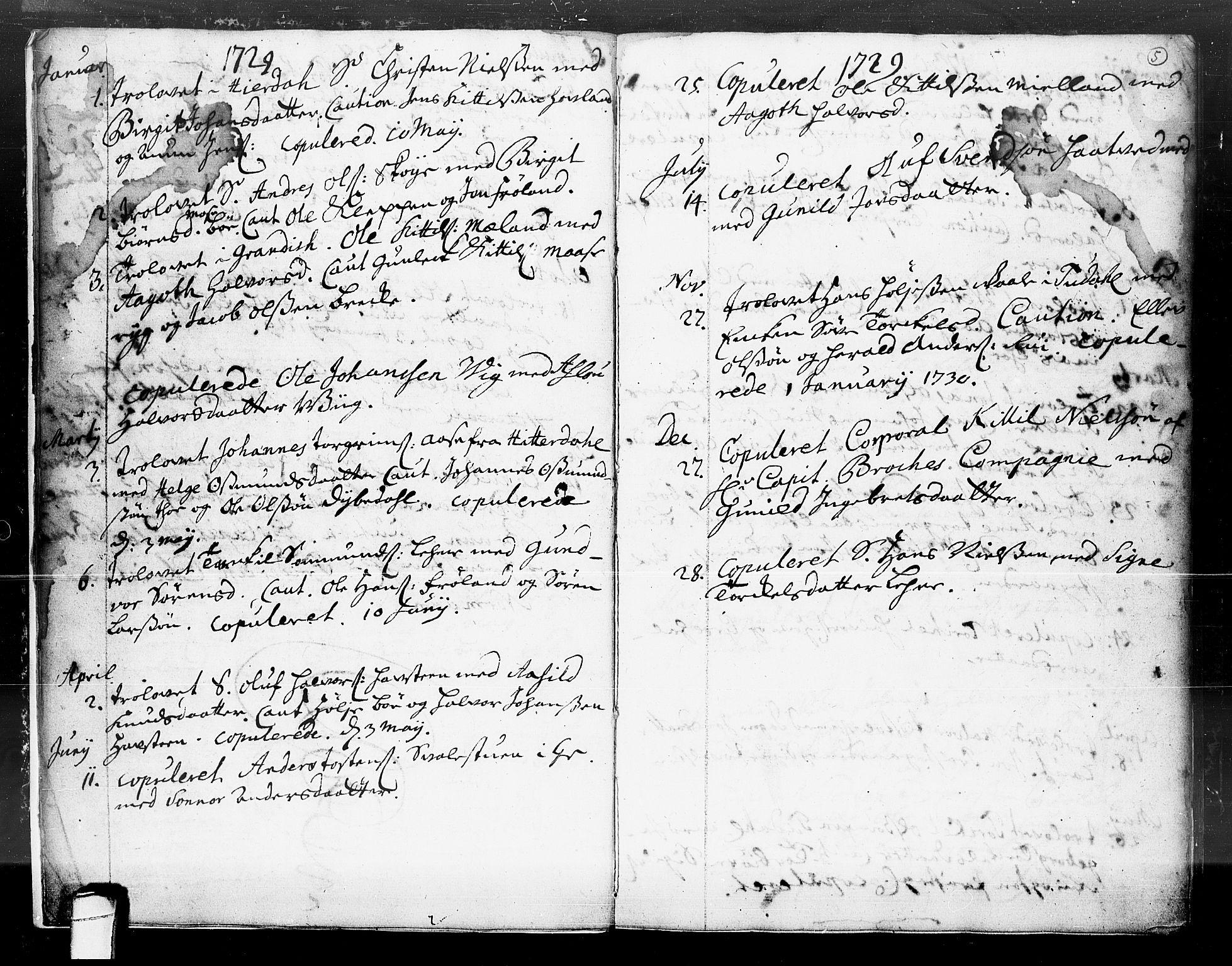 SAKO, Hjartdal kirkebøker, F/Fa/L0004: Ministerialbok nr. I 4, 1727-1795, s. 5