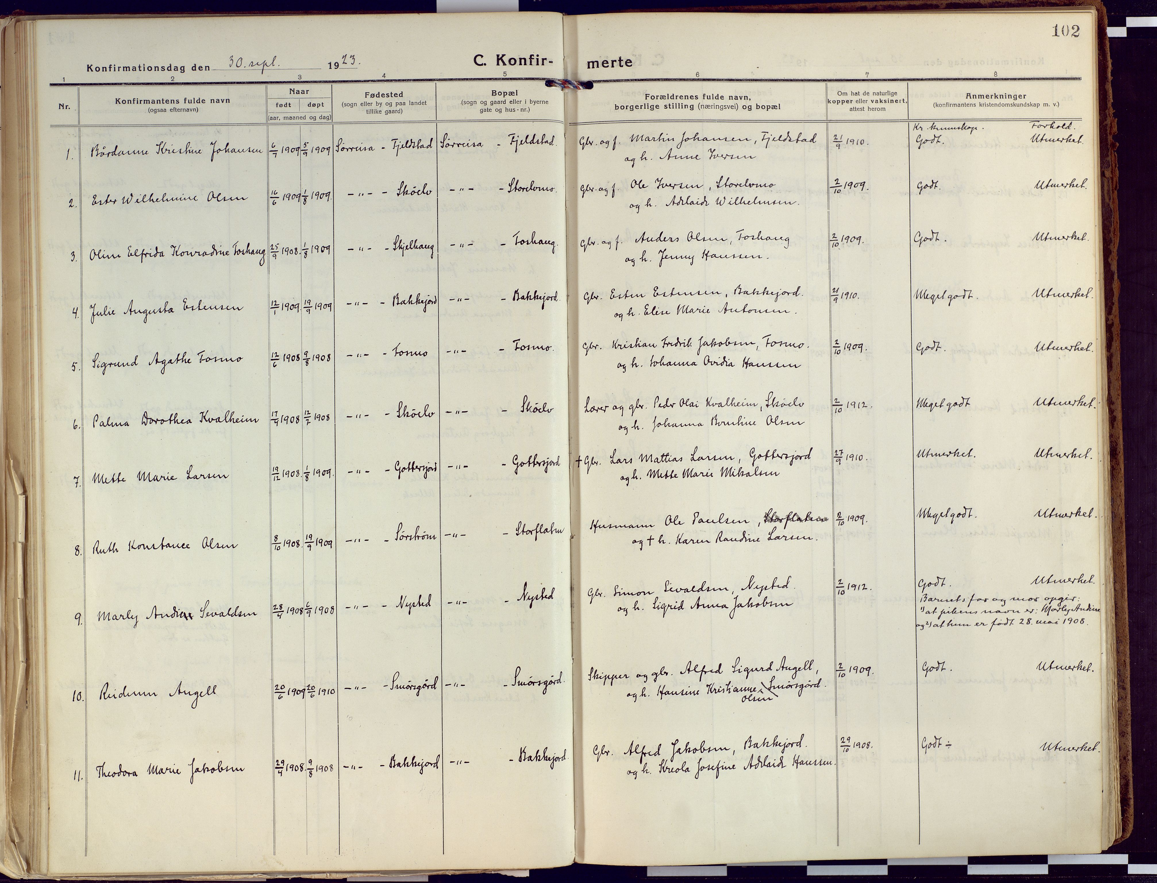 SATØ, Tranøy sokneprestkontor, I/Ia/Iaa/L0015kirke: Ministerialbok nr. 15, 1919-1928, s. 102