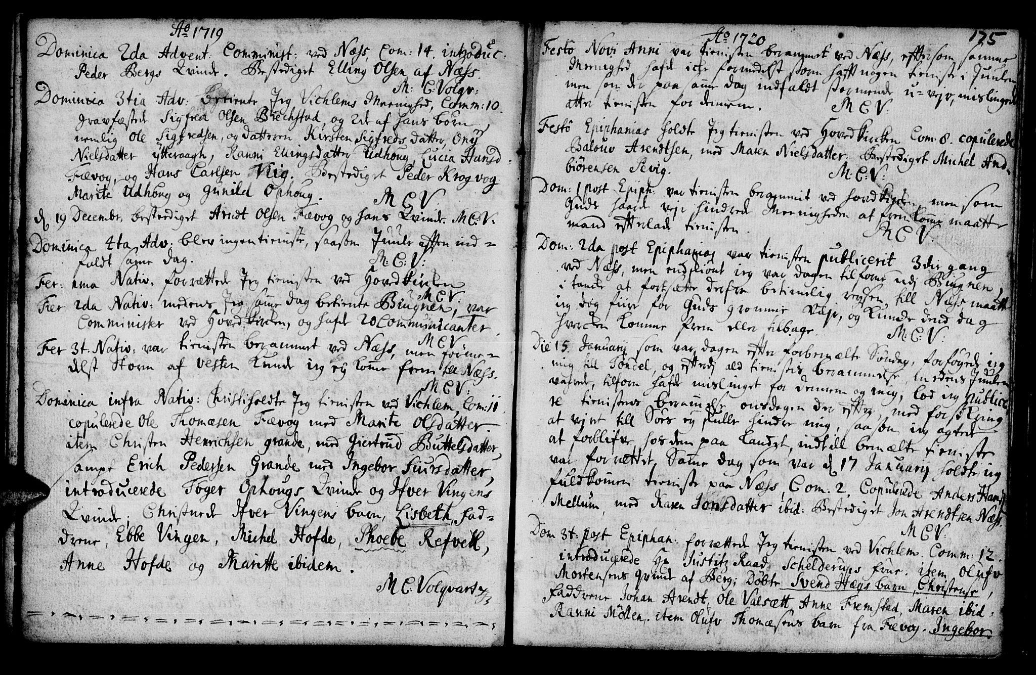 SAT, Ministerialprotokoller, klokkerbøker og fødselsregistre - Sør-Trøndelag, 659/L0731: Ministerialbok nr. 659A01, 1709-1731, s. 174-175