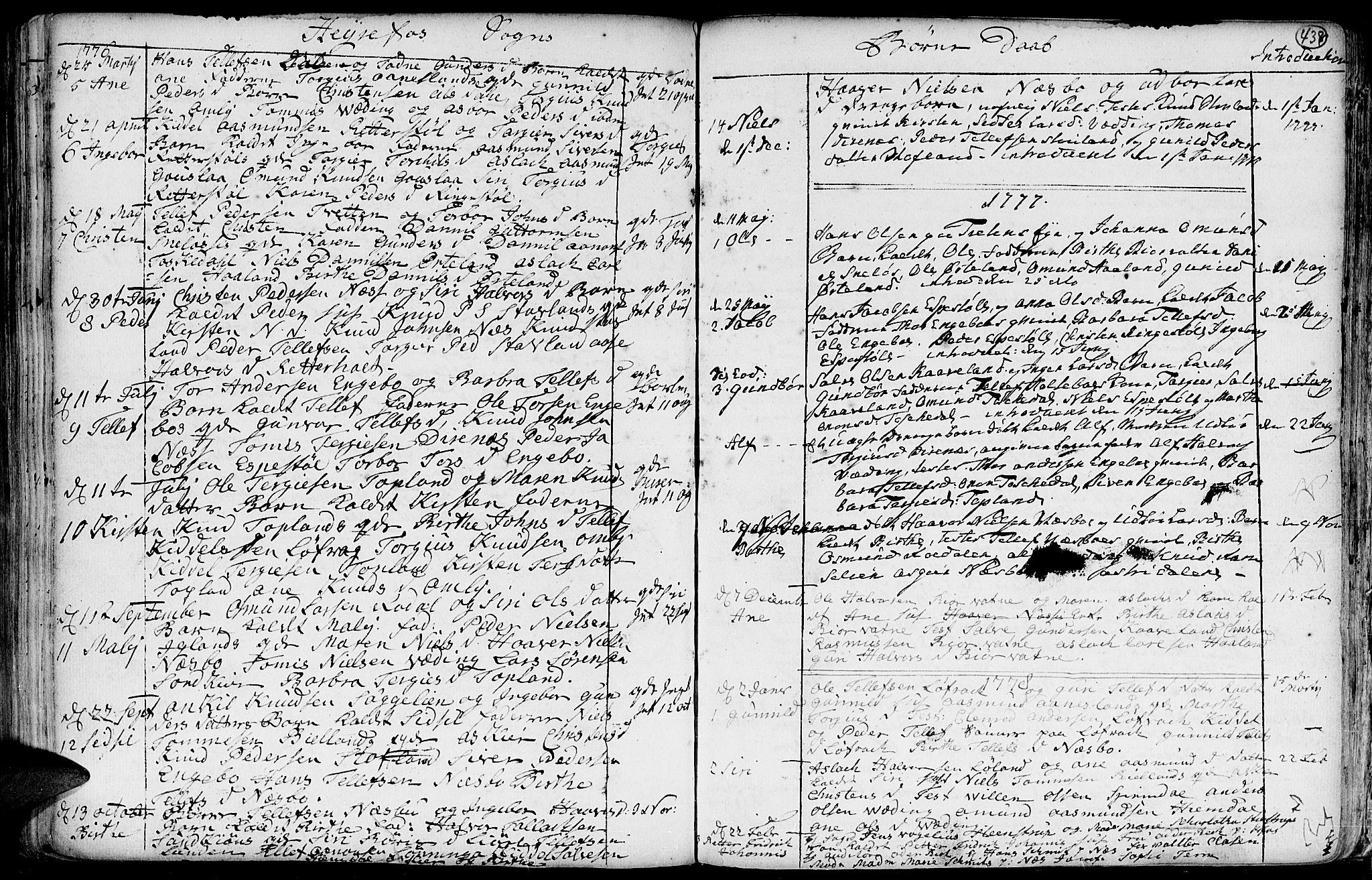 SAK, Hommedal sokneprestkontor, F/Fa/Fab/L0002: Ministerialbok nr. A 2 /3, 1740-1821, s. 438