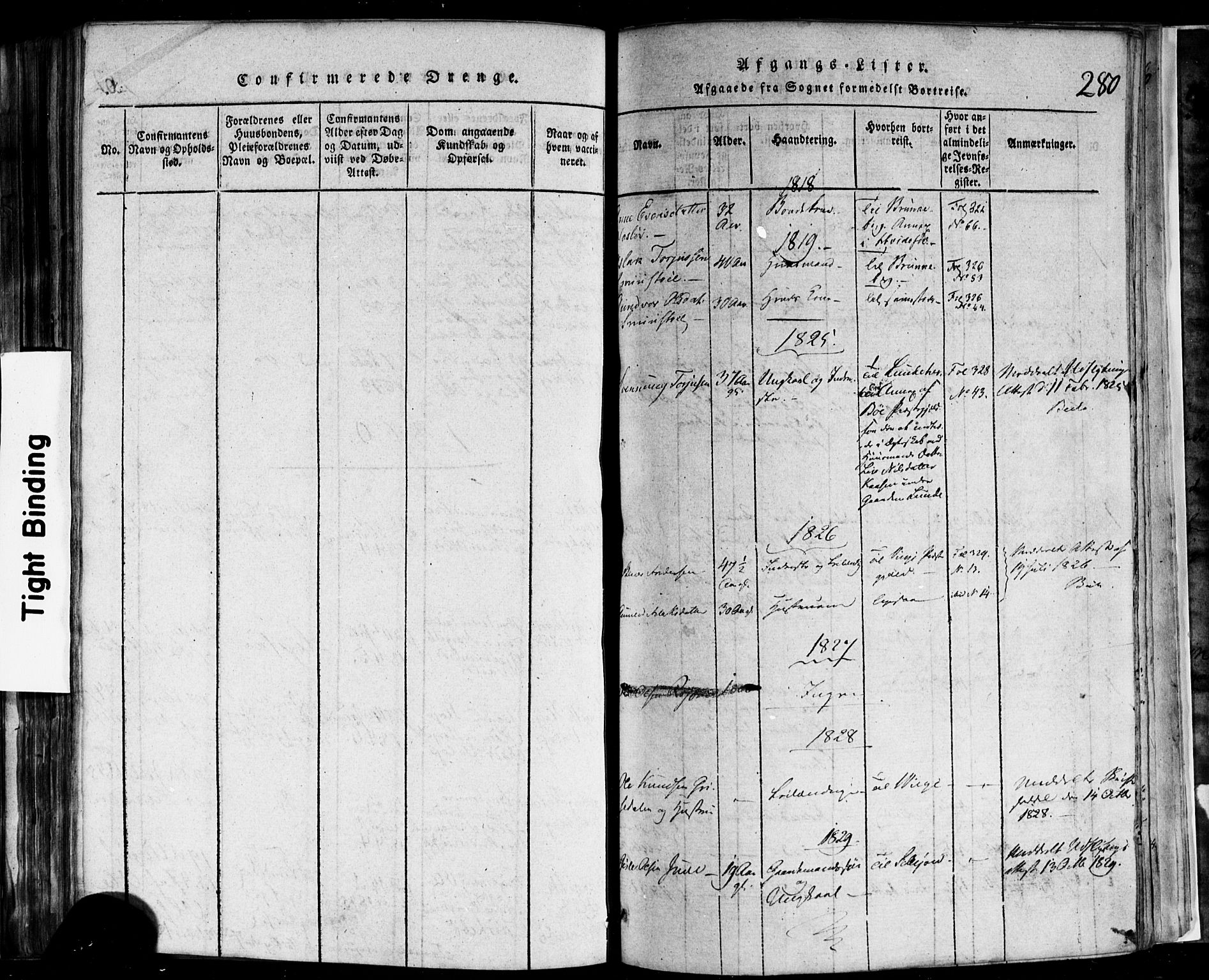 SAKO, Rauland kirkebøker, F/Fa/L0002: Ministerialbok nr. 2, 1815-1860, s. 280