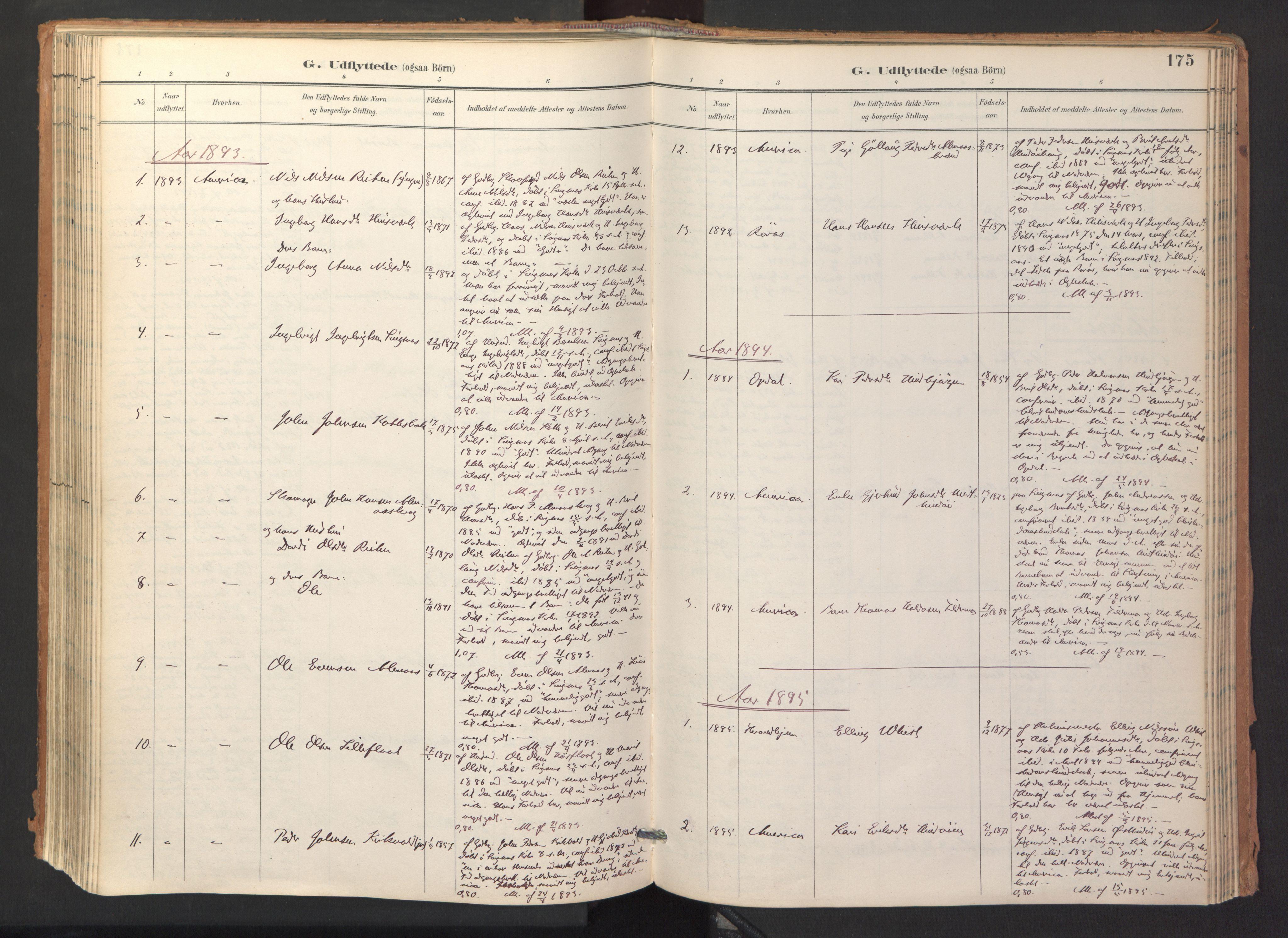 SAT, Ministerialprotokoller, klokkerbøker og fødselsregistre - Sør-Trøndelag, 688/L1025: Ministerialbok nr. 688A02, 1891-1909, s. 175