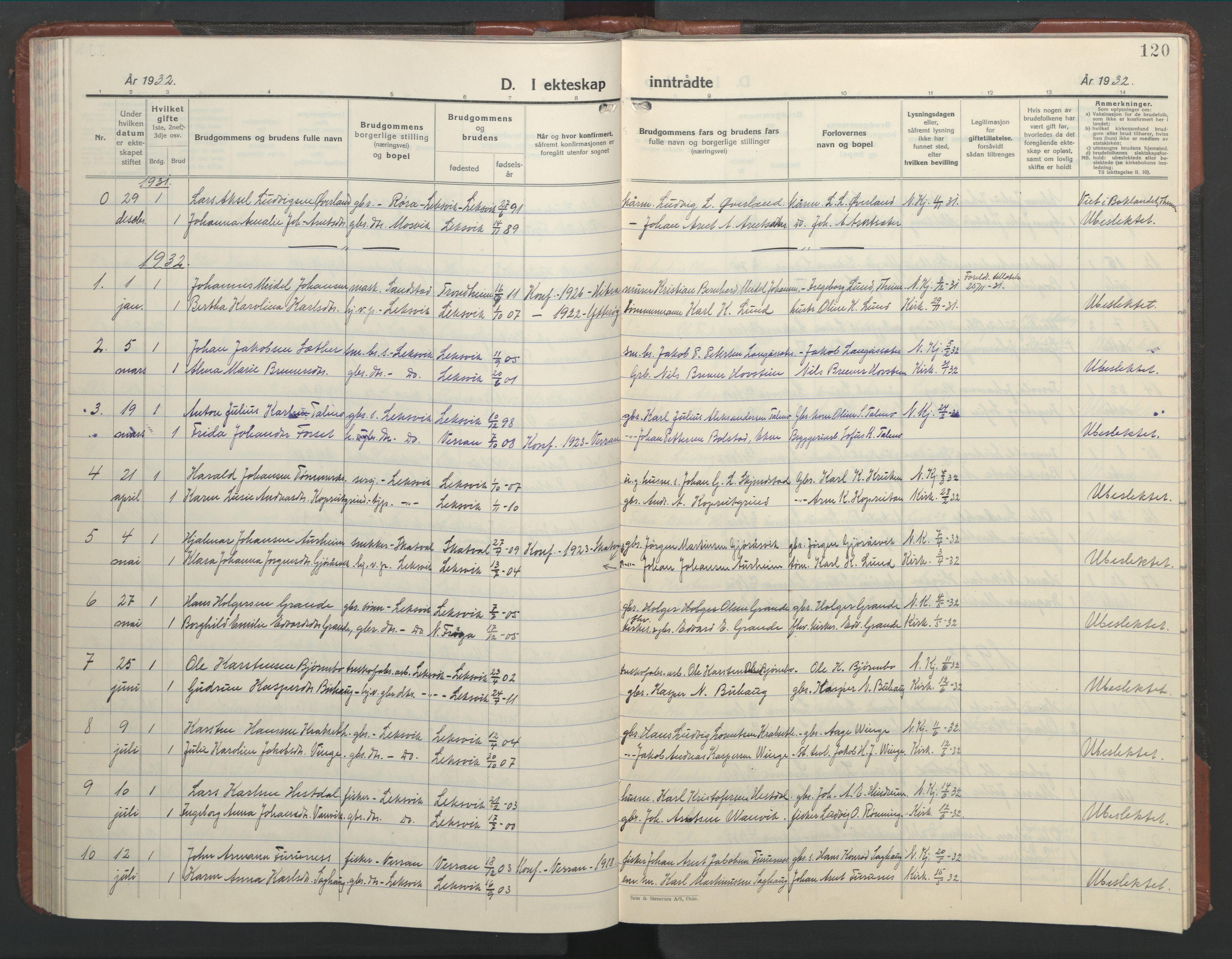 SAT, Ministerialprotokoller, klokkerbøker og fødselsregistre - Nord-Trøndelag, 701/L0019: Klokkerbok nr. 701C03, 1930-1953, s. 120