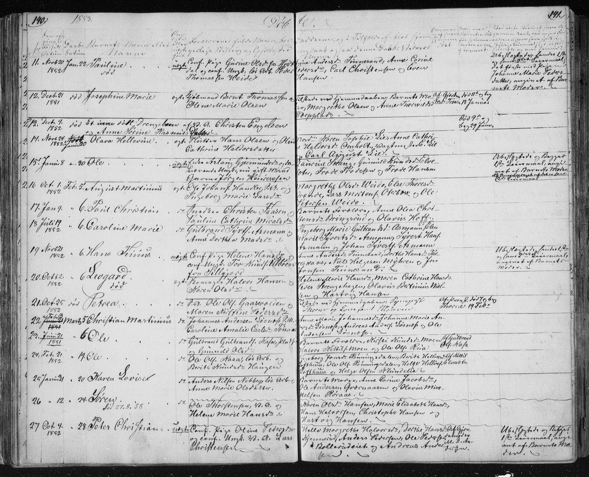 SAKO, Kongsberg kirkebøker, F/Fa/L0009: Ministerialbok nr. I 9, 1839-1858, s. 140-141