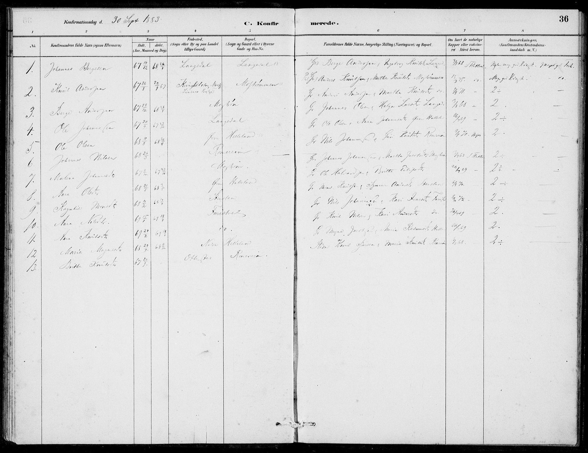 SAB, Hosanger Sokneprestembete, H/Haa: Ministerialbok nr. C  1, 1880-1900, s. 36