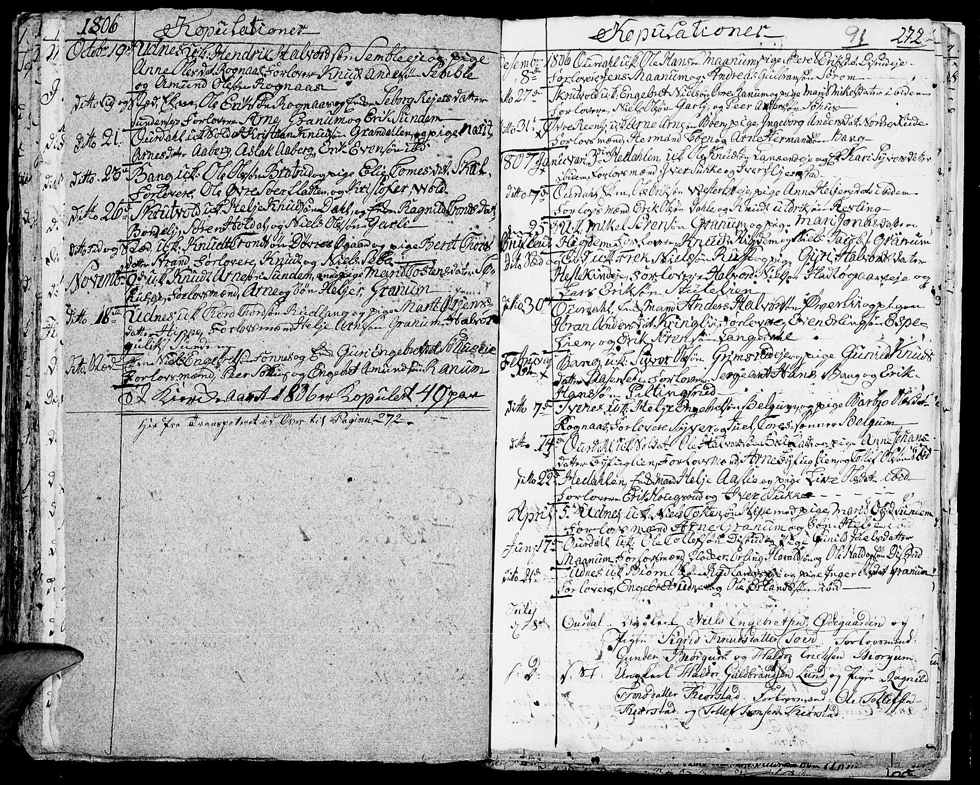 SAH, Aurdal prestekontor, Ministerialbok nr. 7, 1800-1808, s. 91