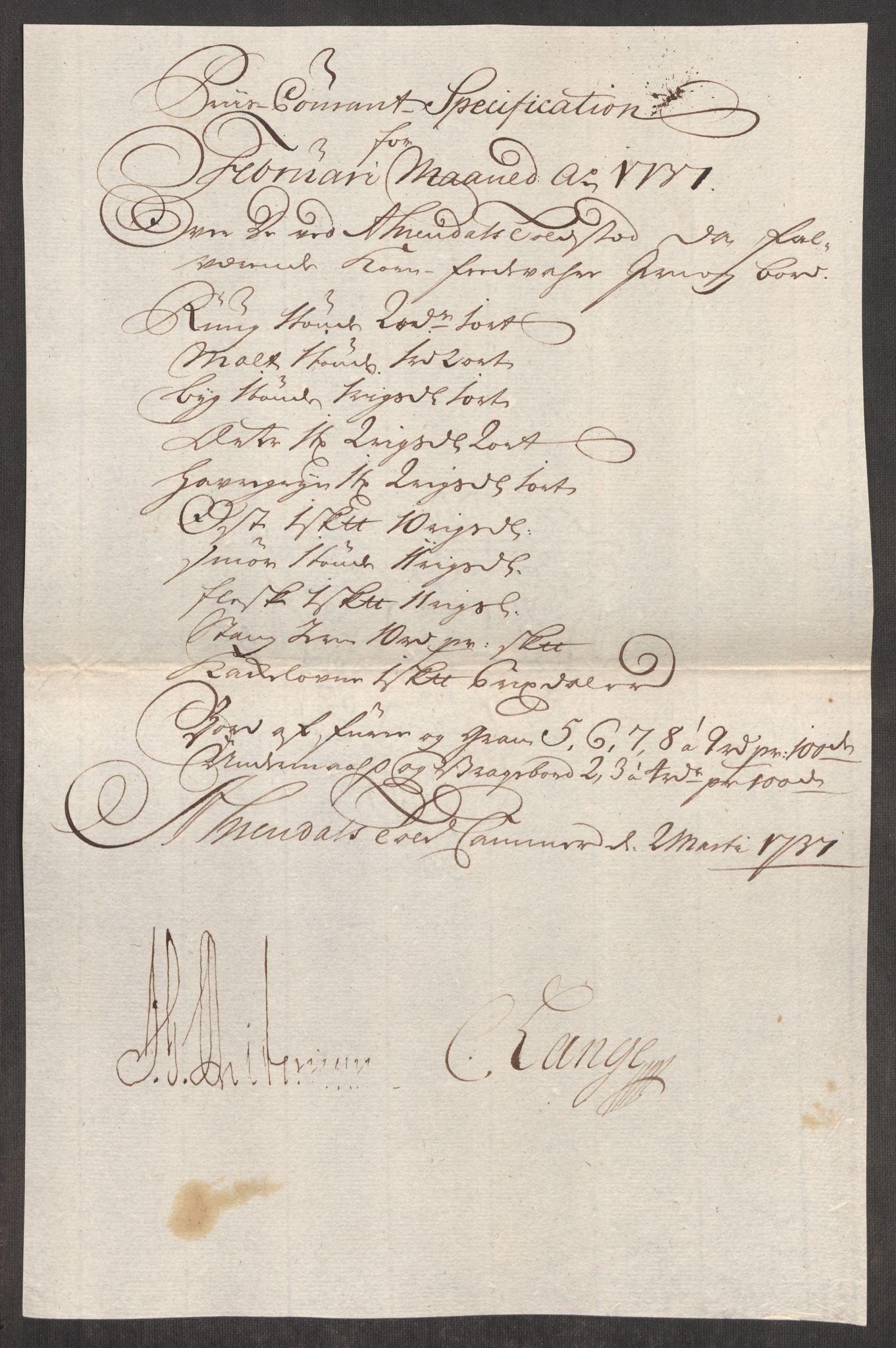 RA, Rentekammeret inntil 1814, Realistisk ordnet avdeling, Oe/L0001: [Ø1]: Priskuranter, 1712-1739, s. 611