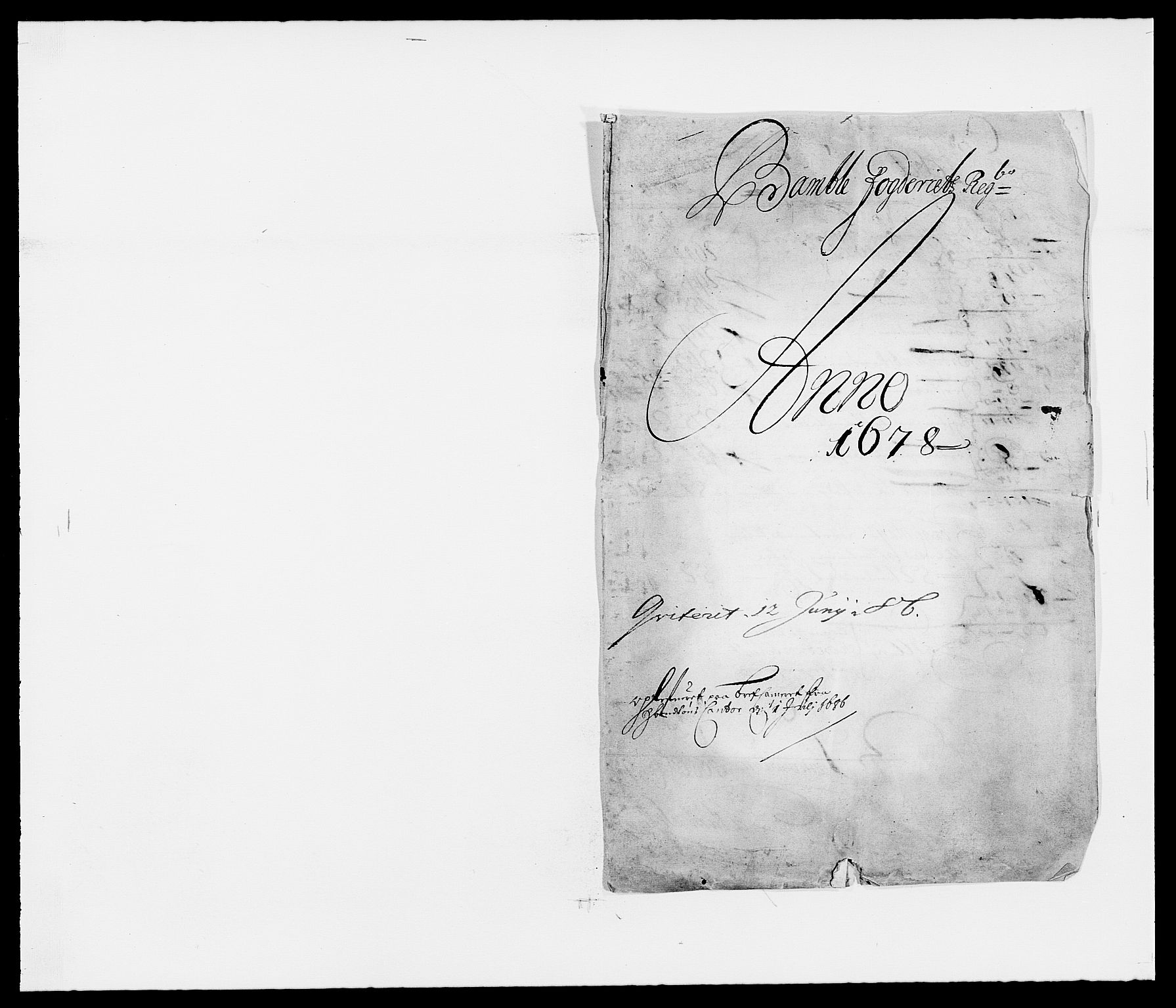 RA, Rentekammeret inntil 1814, Reviderte regnskaper, Fogderegnskap, R34/L2044: Fogderegnskap Bamble, 1678-1679, s. 1