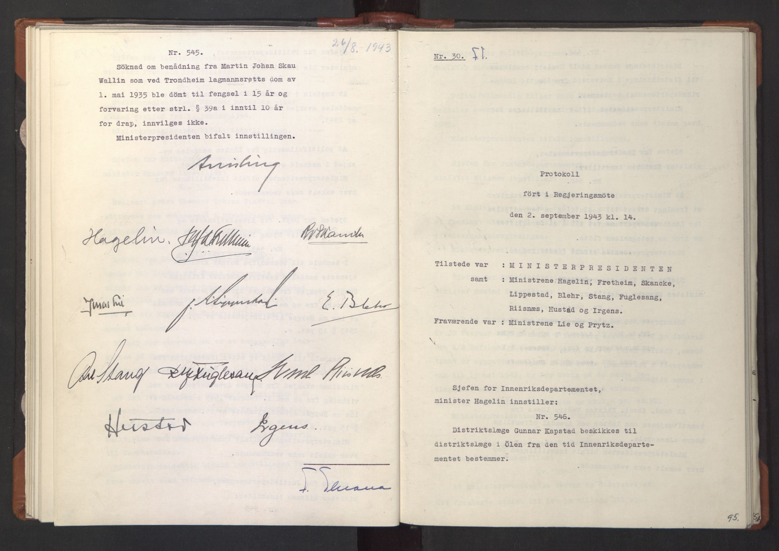 RA, NS-administrasjonen 1940-1945 (Statsrådsekretariatet, de kommisariske statsråder mm), D/Da/L0003: Vedtak (Beslutninger) nr. 1-746 og tillegg nr. 1-47 (RA. j.nr. 1394/1944, tilgangsnr. 8/1944, 1943, s. 94b-95a