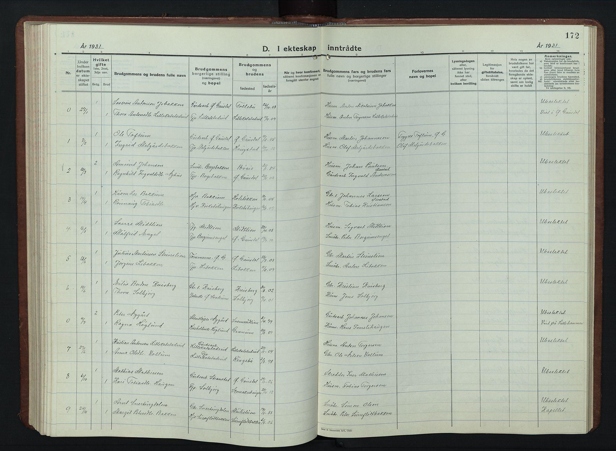 SAH, Vestre Gausdal prestekontor, Klokkerbok nr. 5, 1926-1955, s. 172