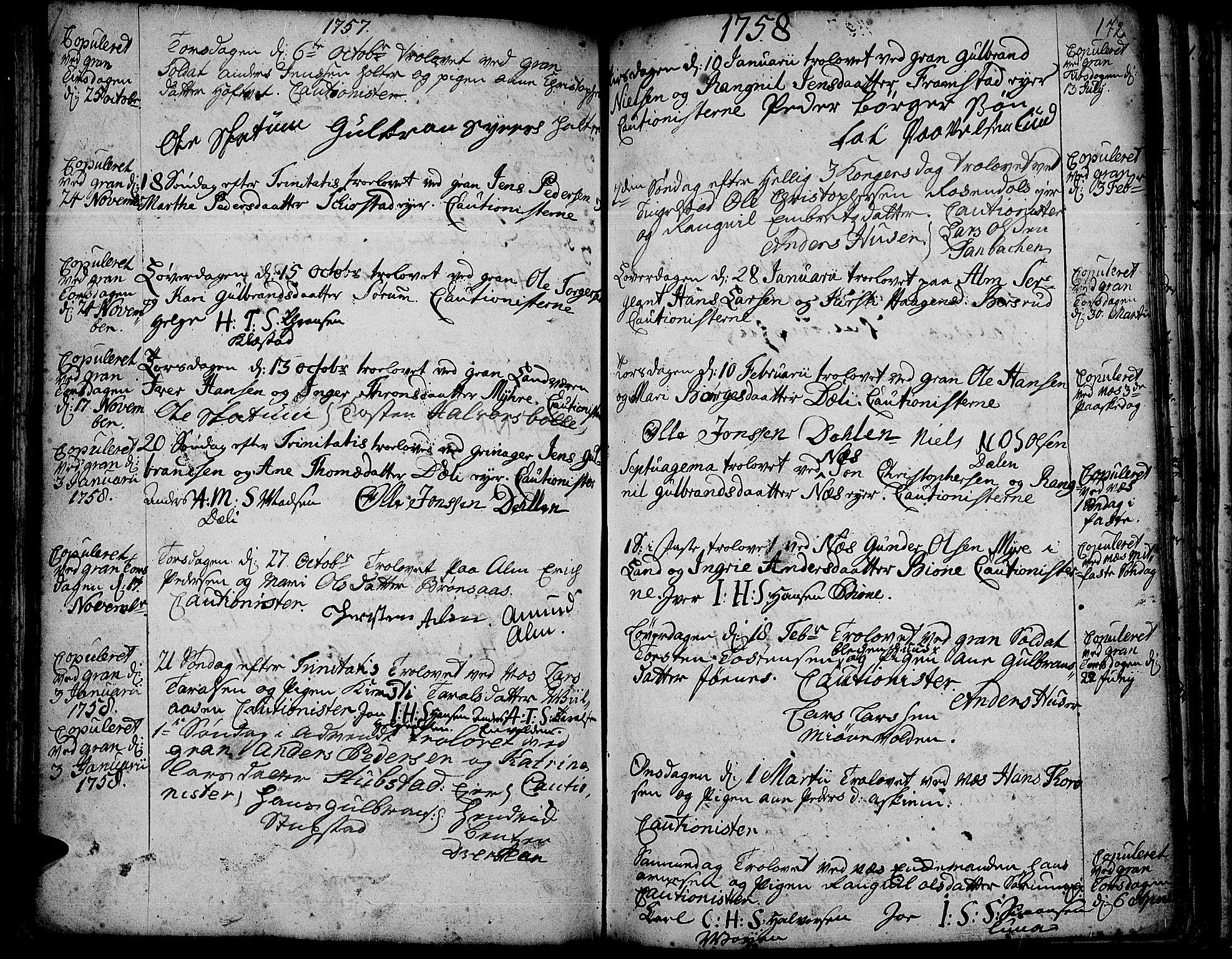SAH, Gran prestekontor, Ministerialbok nr. 3, 1745-1758, s. 172