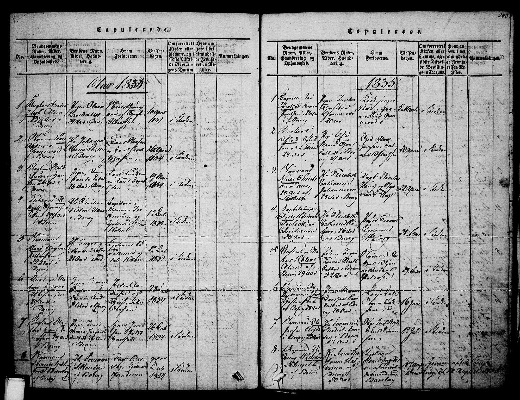 SAKO, Brevik kirkebøker, F/Fa/L0004: Ministerialbok nr. 4, 1814-1846, s. 203